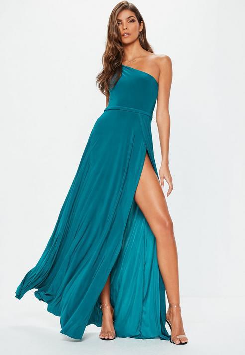 0e85140e75 Missguided Teal Twist Slinky Maxi Dress in Blue - Lyst