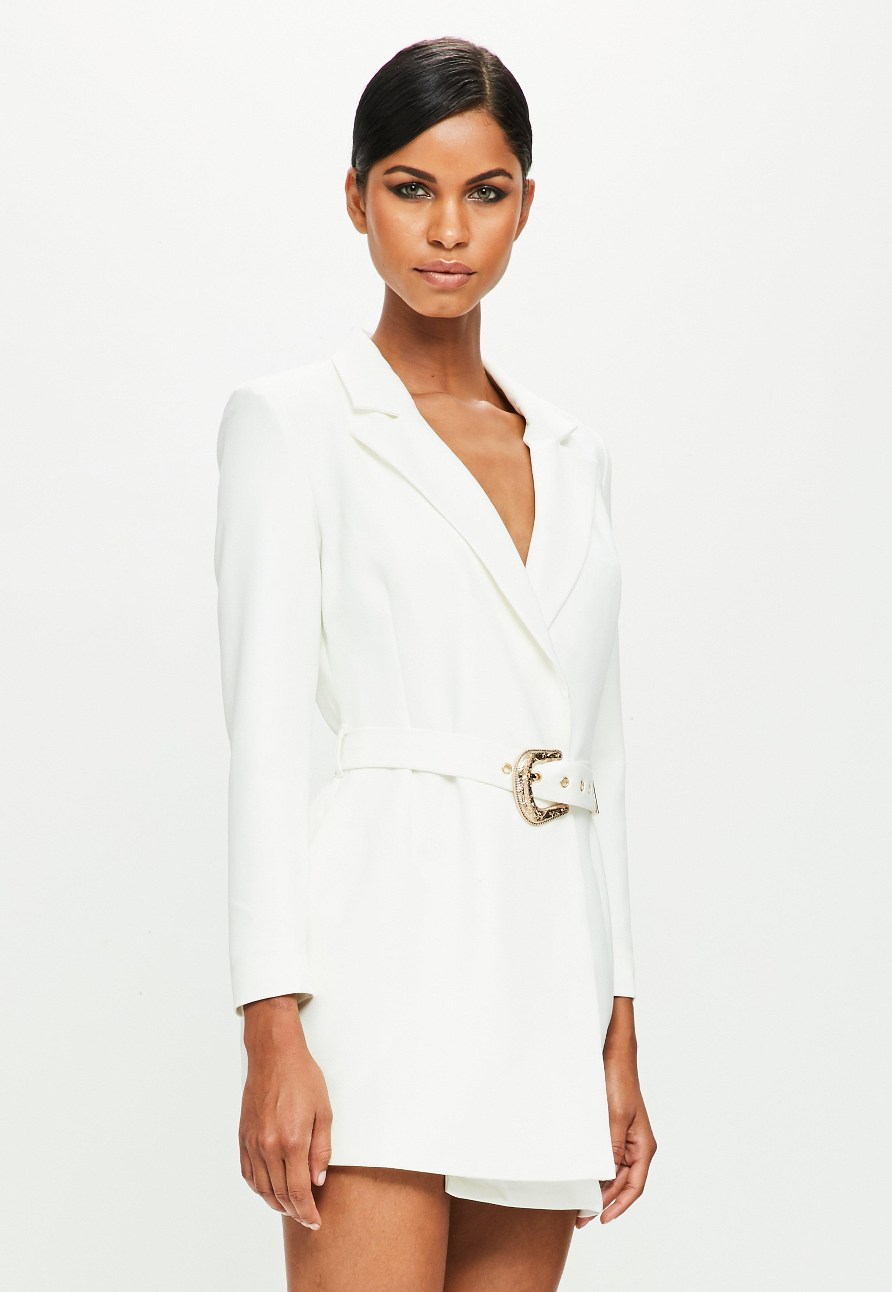 bf046d9c6723 Missguided Peace + Love White Belted Blazer Dress in White - Lyst