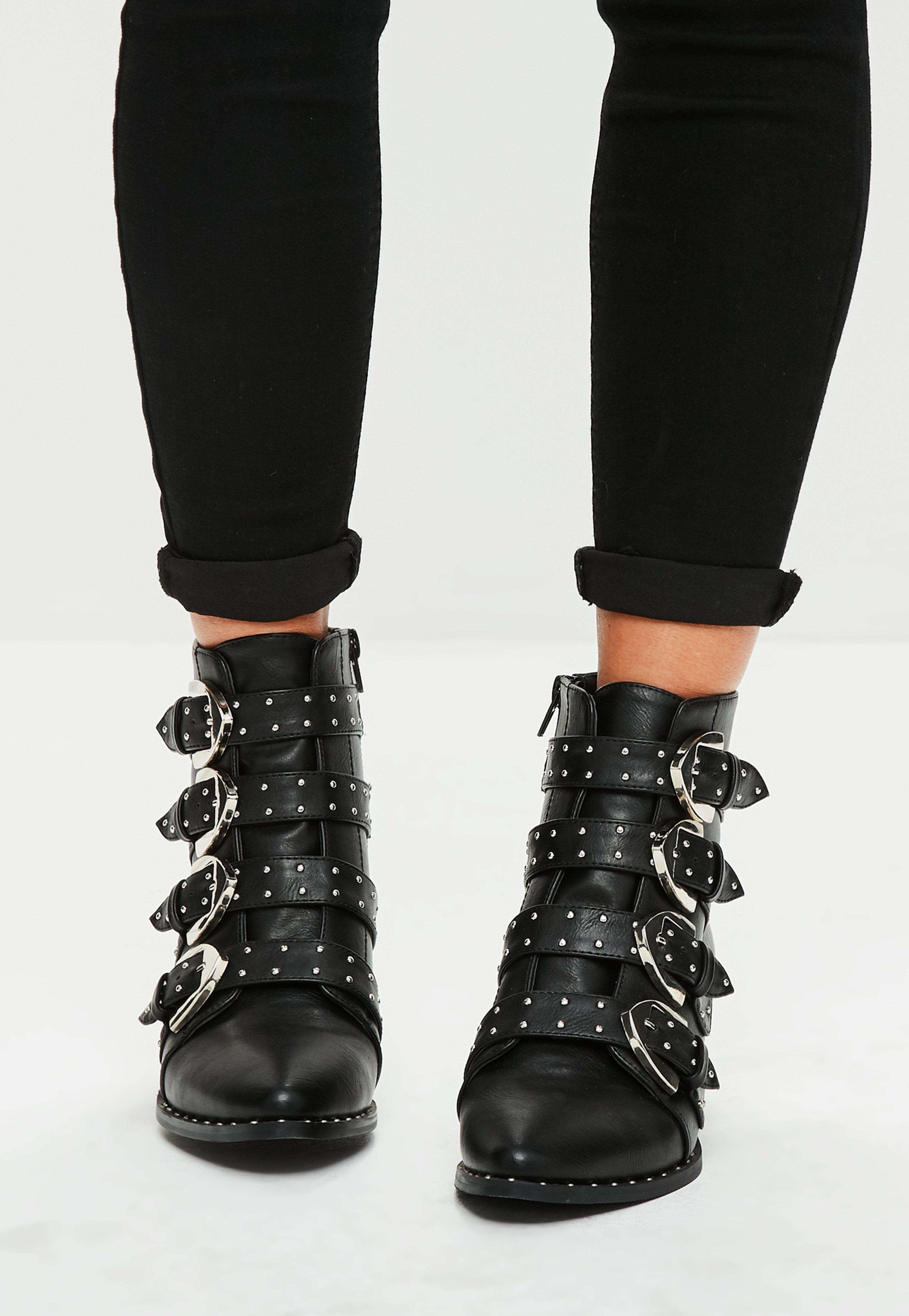Black Four Buckle Ankle Boots