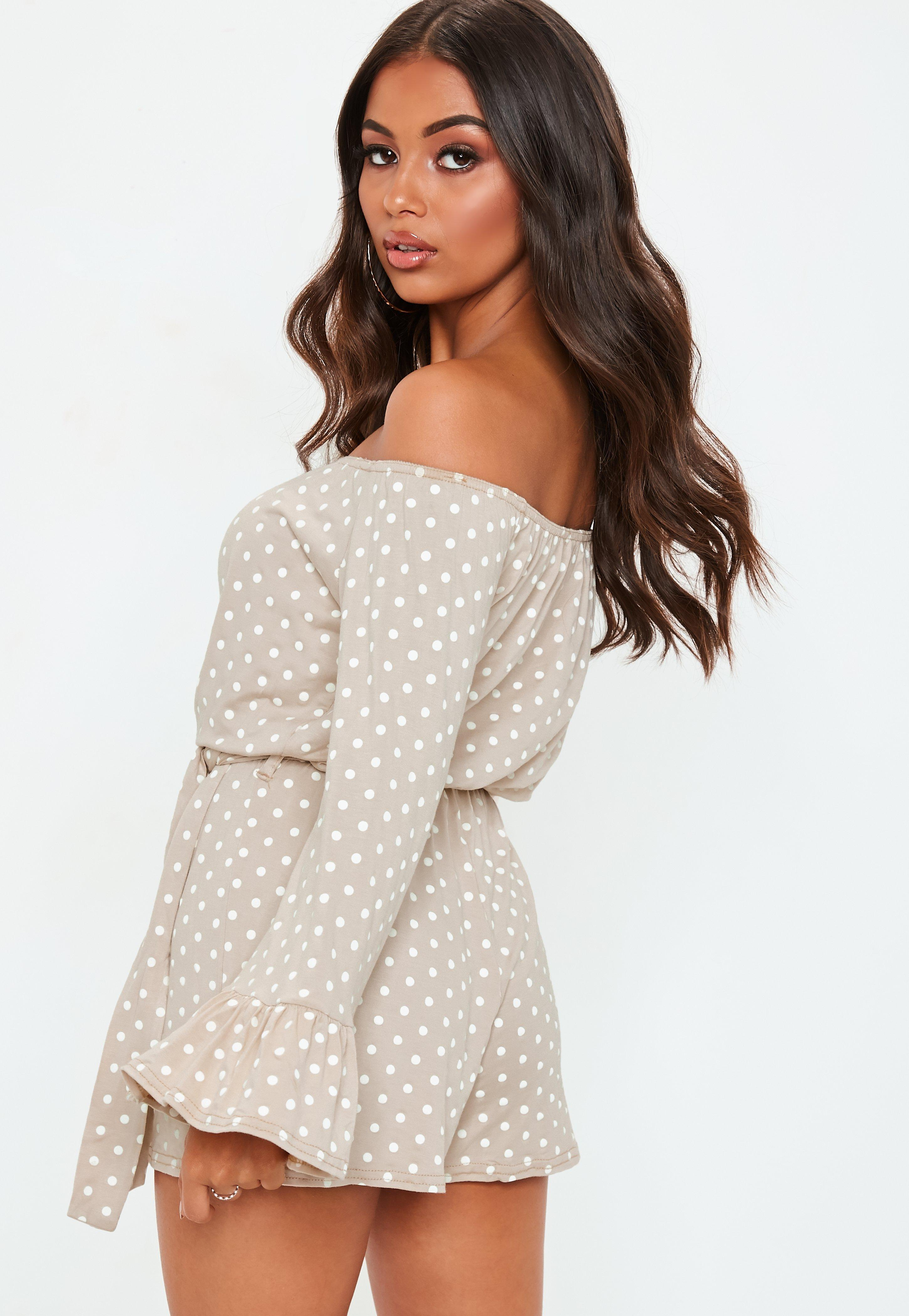 5d00f9d10419 Missguided Nude Polka Dot Bardot Tie Waist Jersey Playsuit in ...