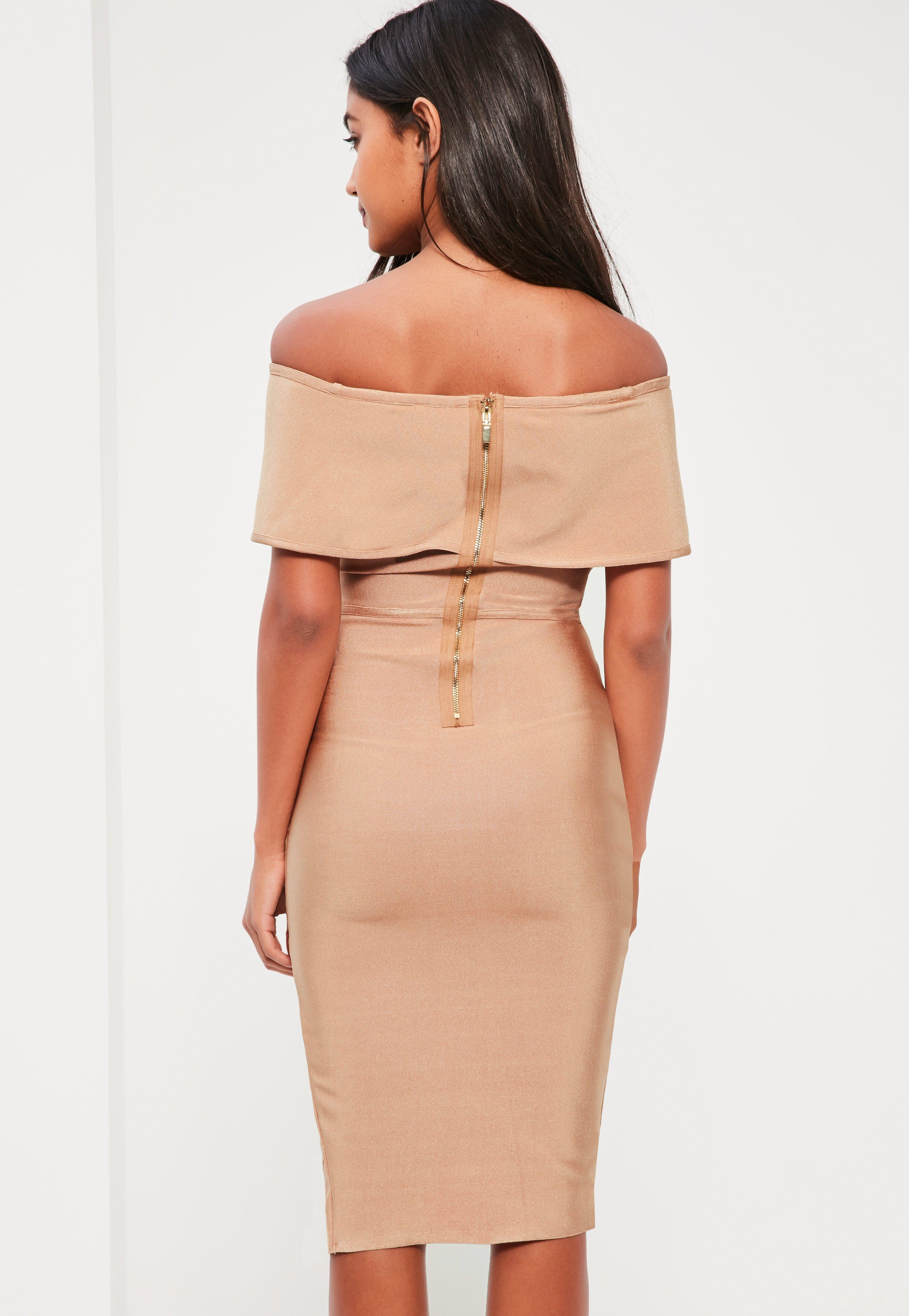 9c8a354bac40b Lyst - Missguided Nude Bandage Bardot Midi Dress in Natural