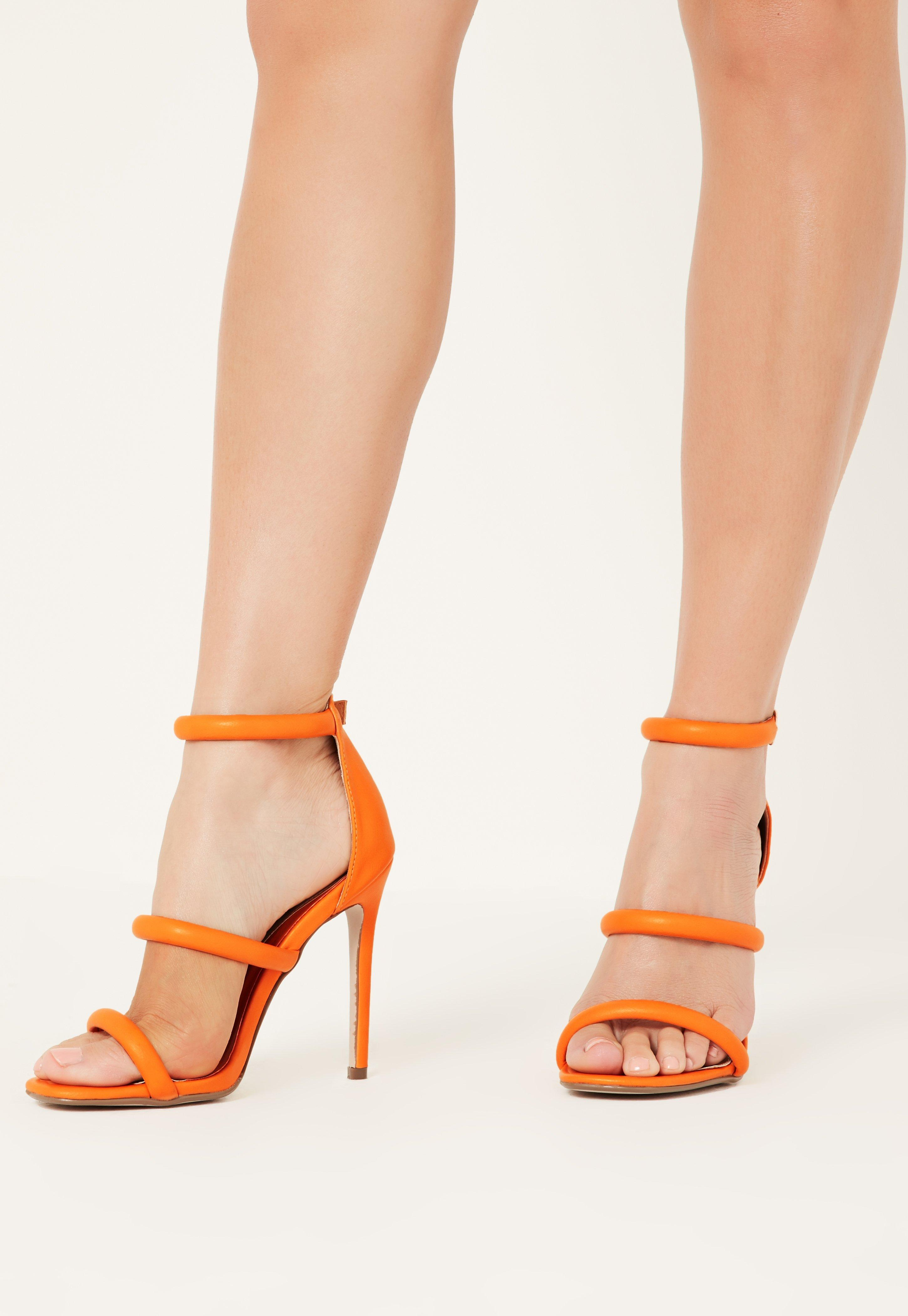 ebb2846a342 Lyst - Missguided Orange Rounded Three Strap Barely There Heels in ...