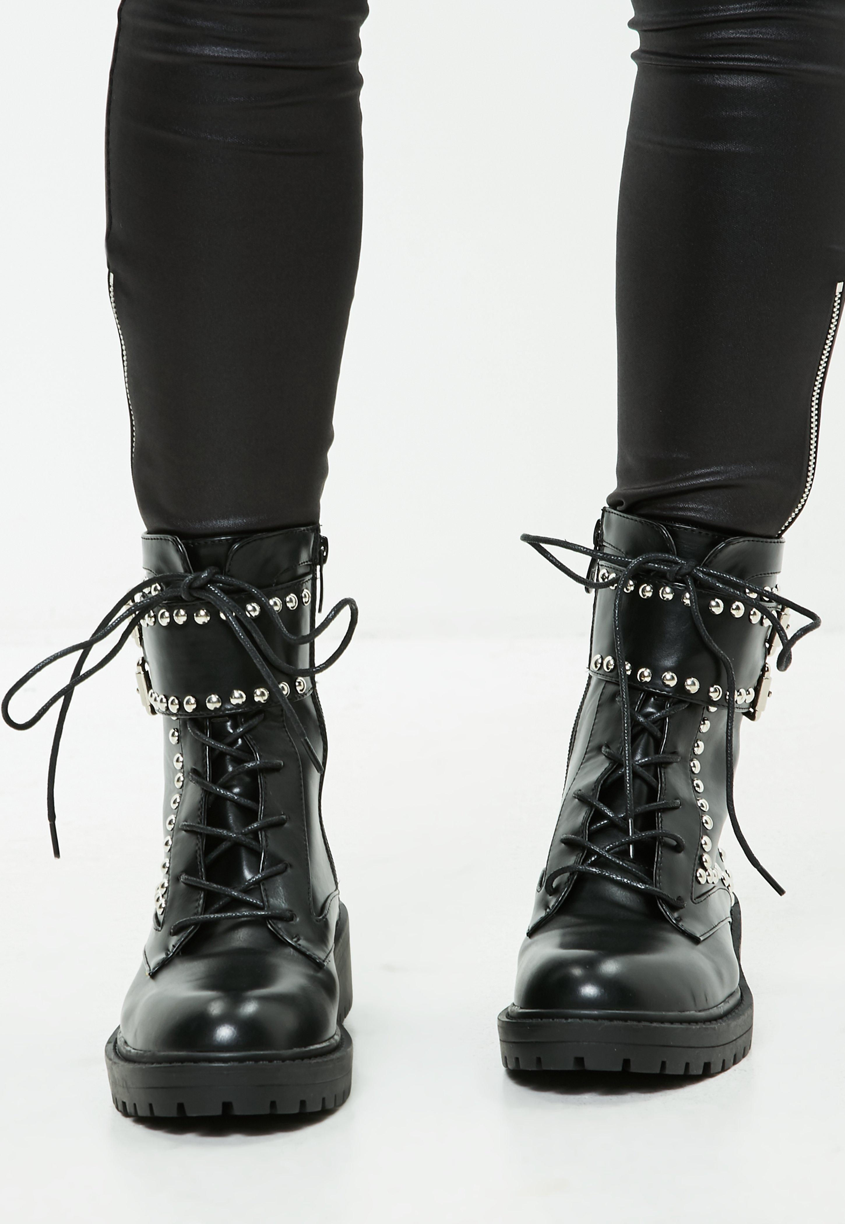 Missguided Black Studded Ankle Boots