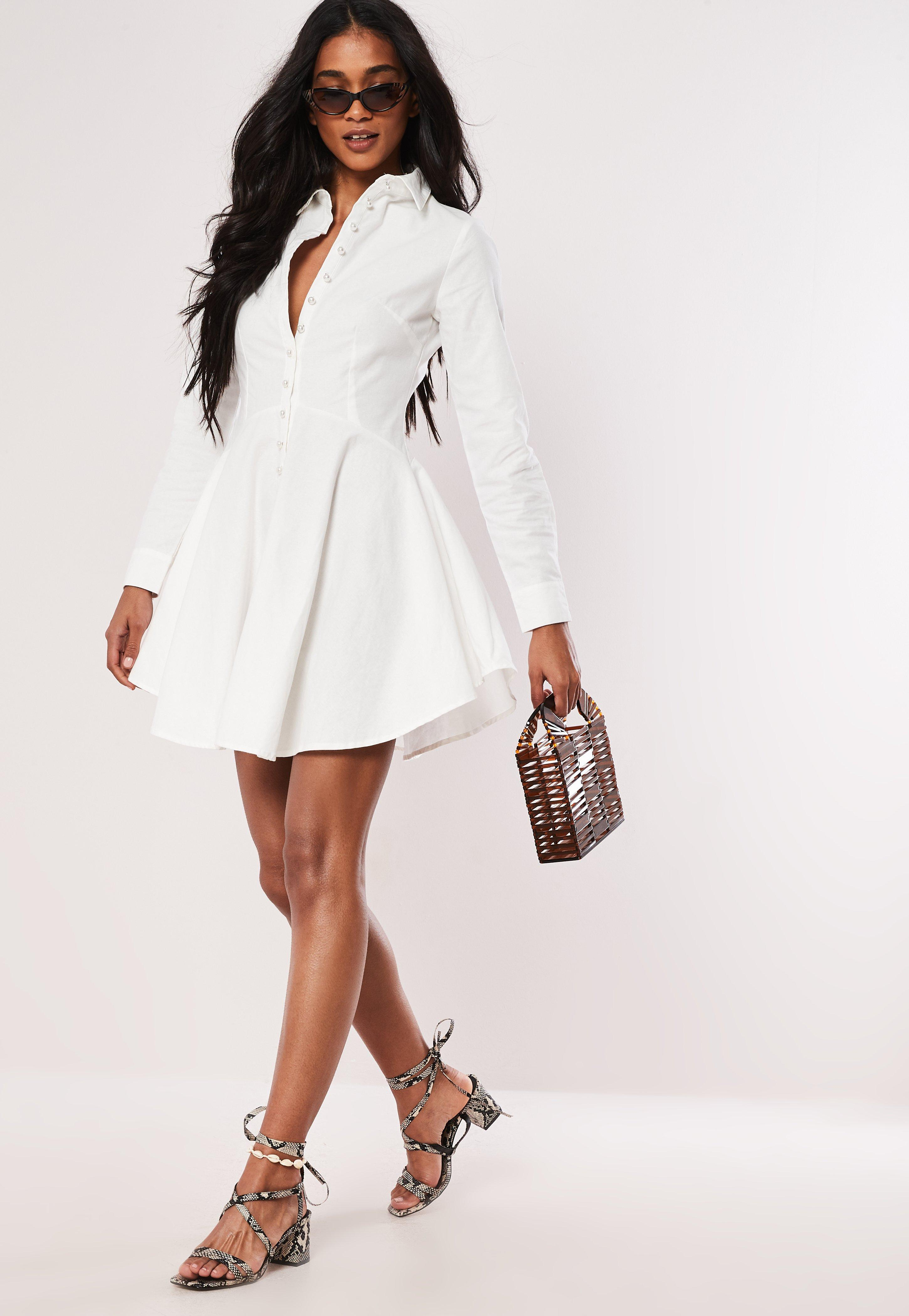 4d2358bfb355 Missguided - White Cotton Button Down Skater Shirt Dress - Lyst. View  fullscreen