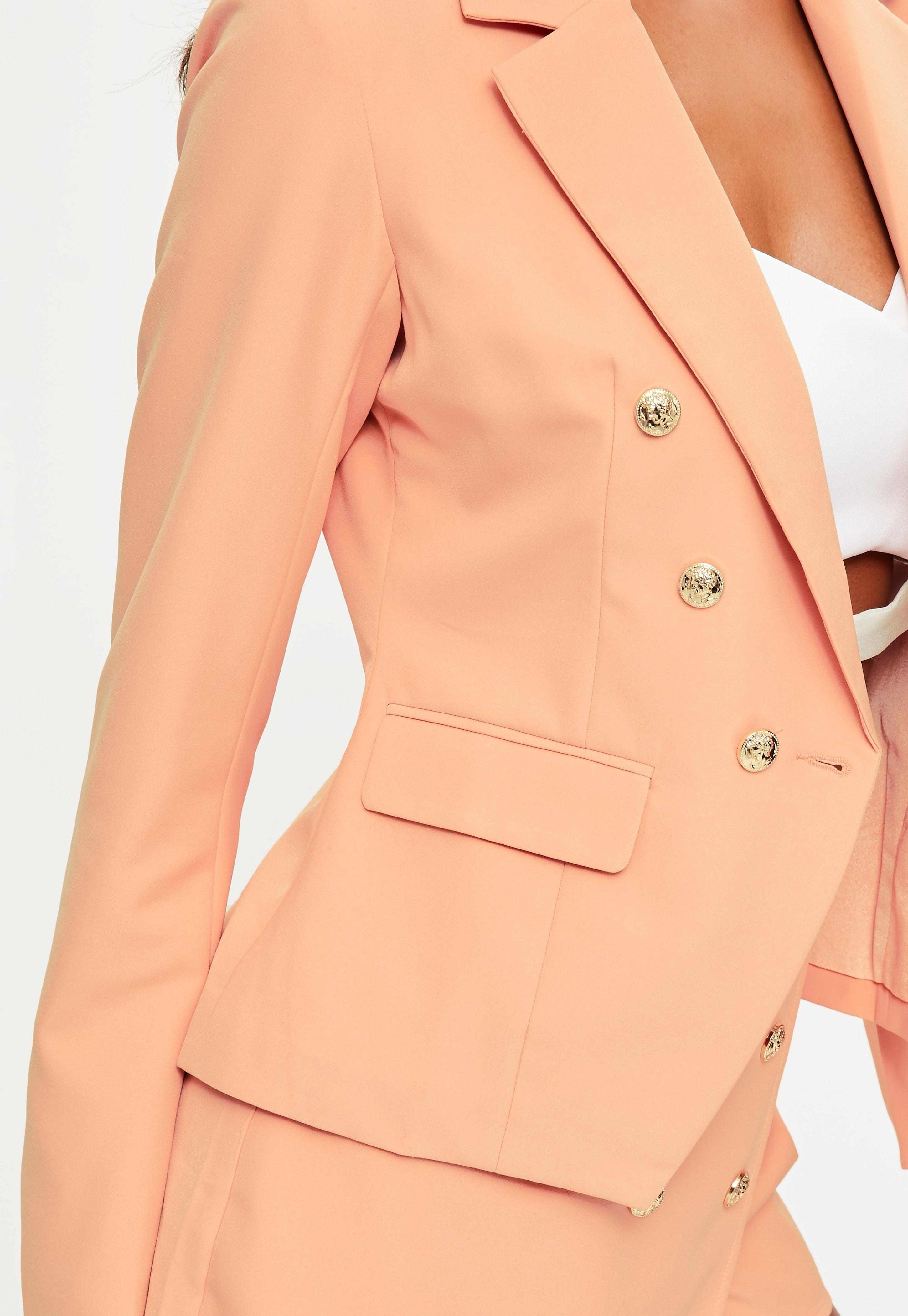 Missguided Nude Military Tailored Blazer in Natural