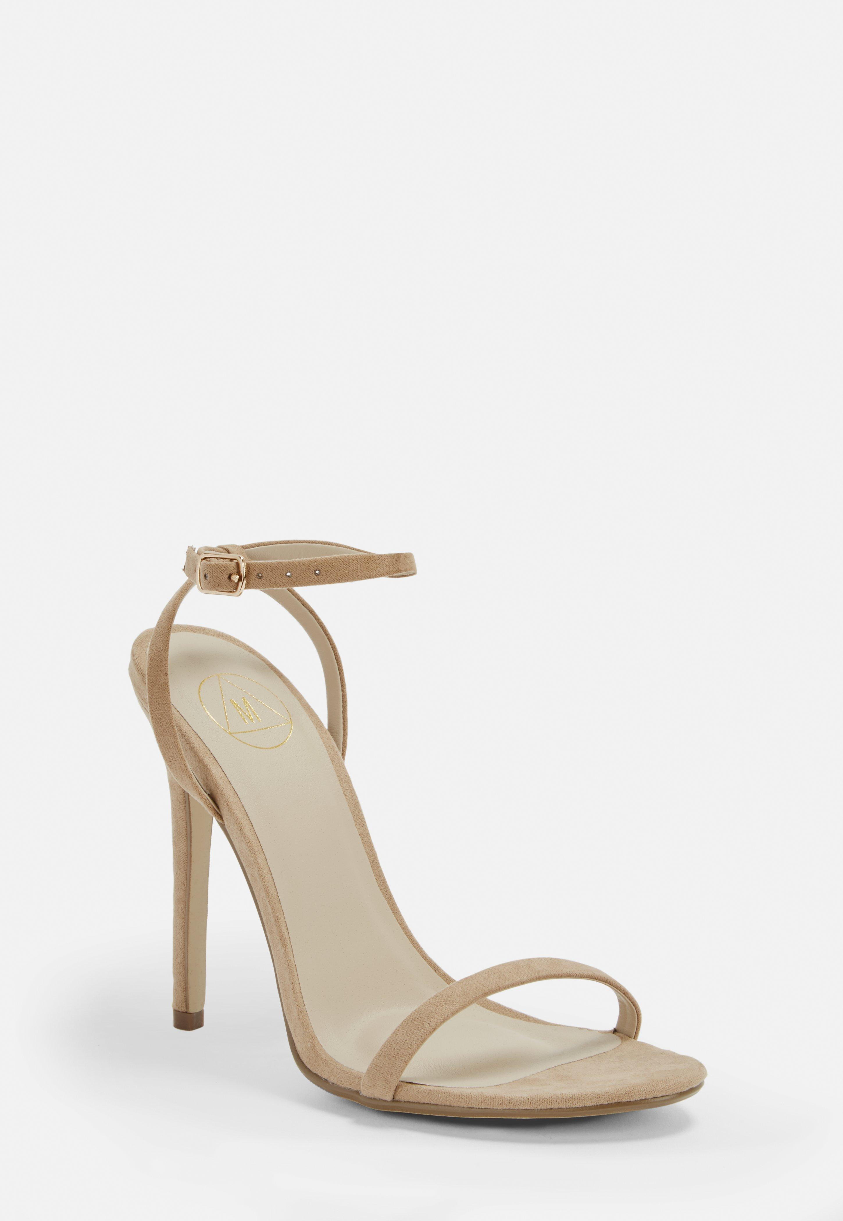 548044e4b530a5 Lyst - Missguided Nude Basic Barely There Heels in Natural
