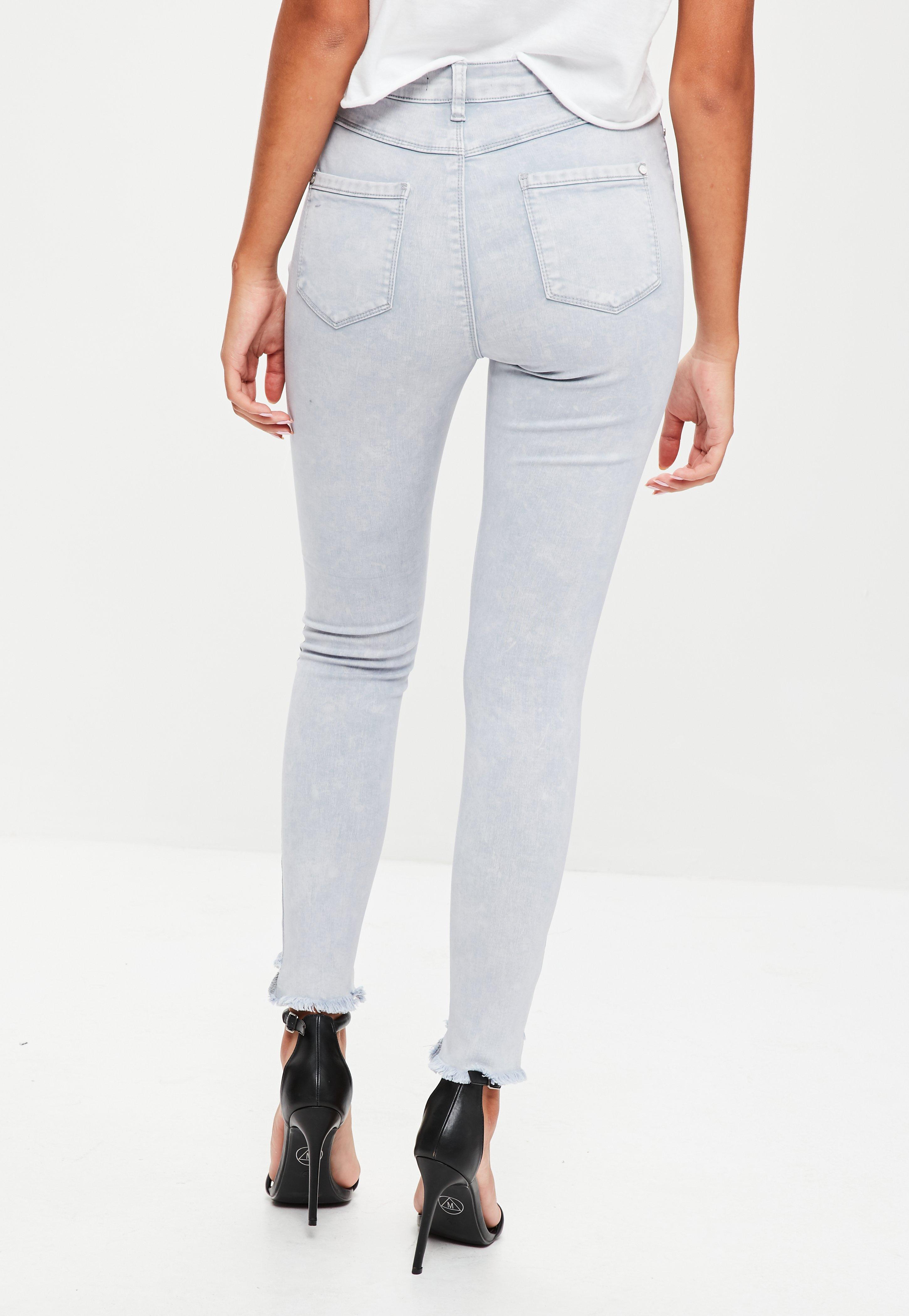 Missguided Denim Grey Sinner High Waisted Step Hem Jeans in Grey