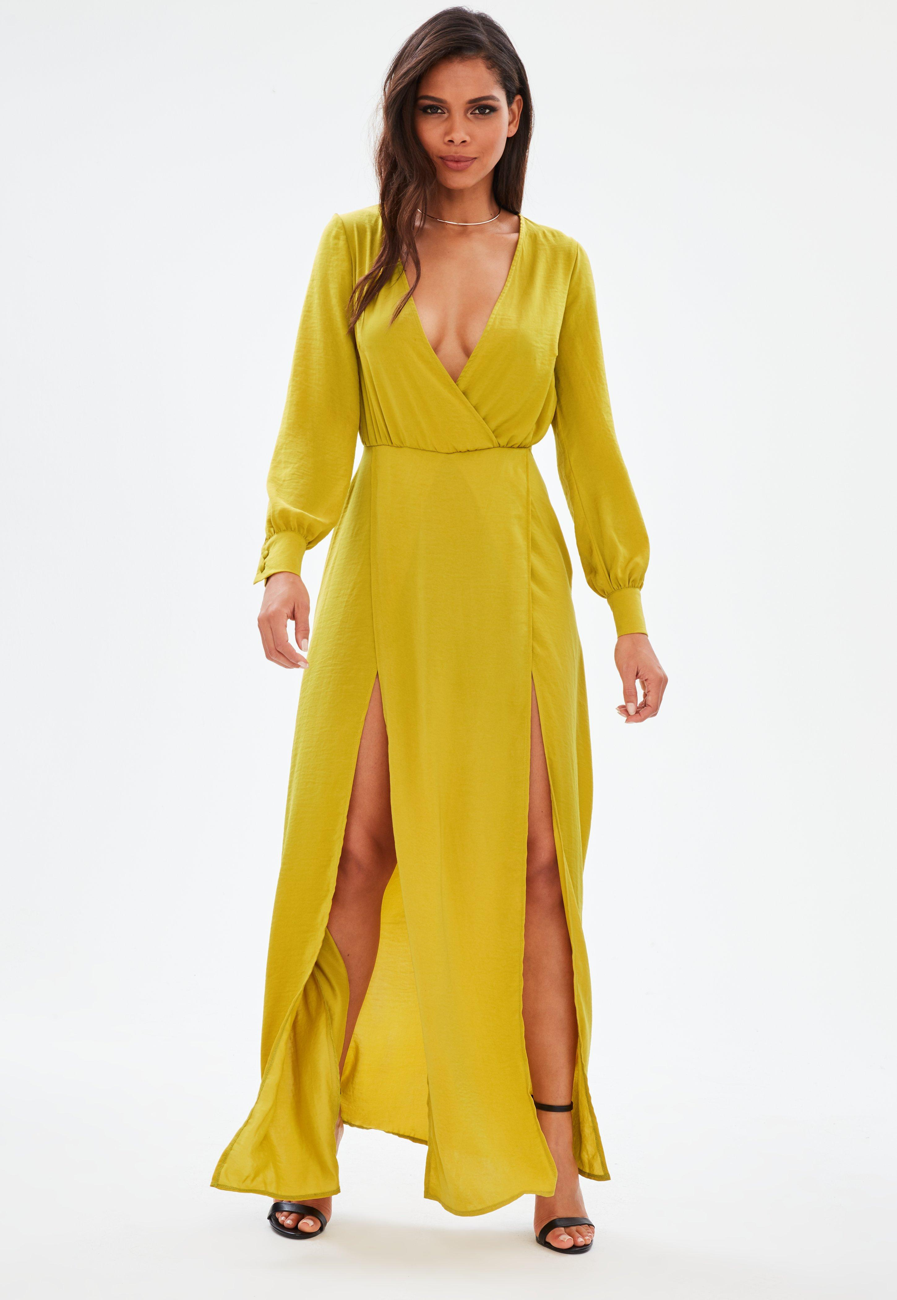 565fc3a99b91 Missguided Yellow Long Sleeve Plunge Wrap Front Split Maxi Dress in ...