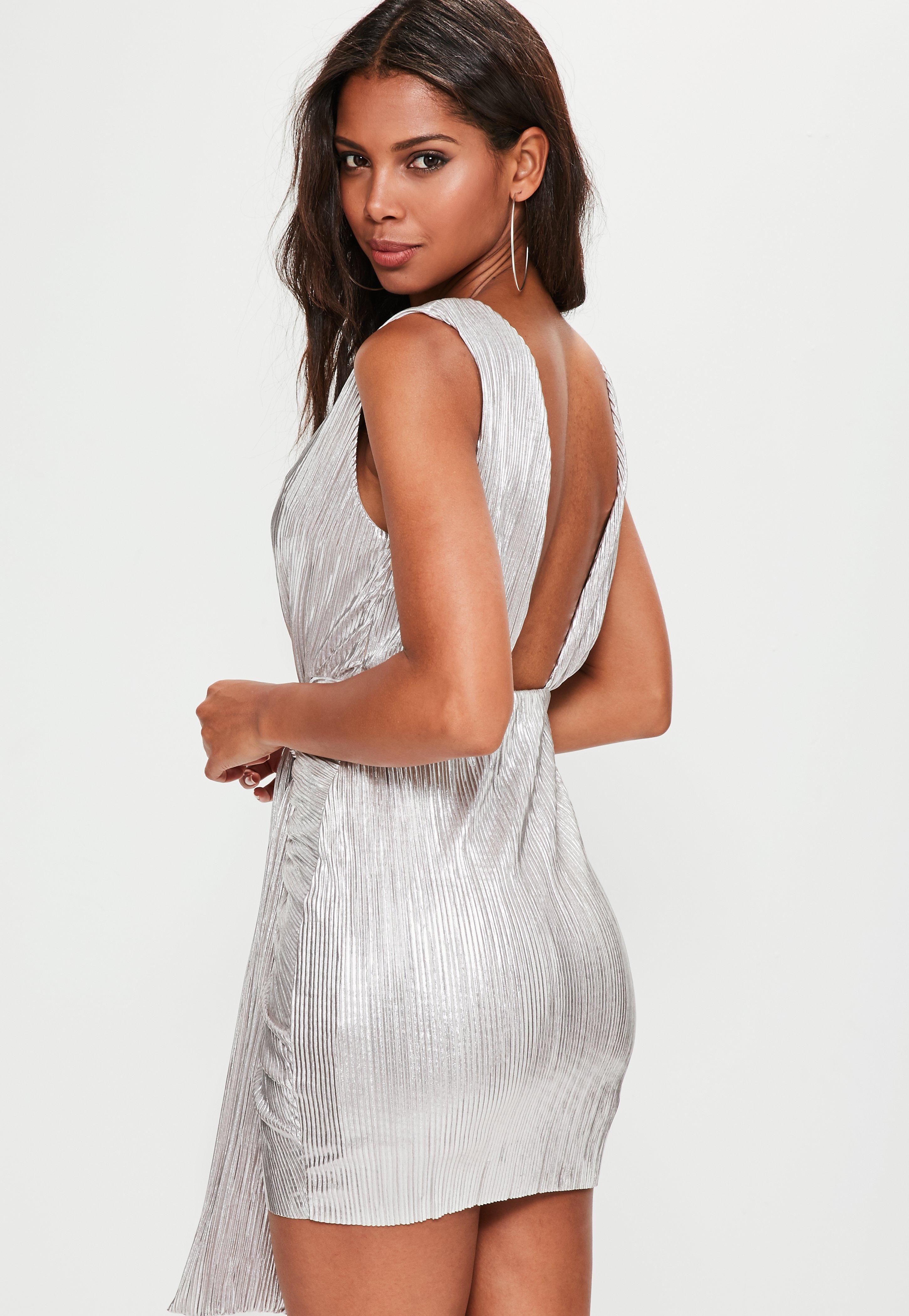 Lyst - Missguided Silver Metallic Pleated Mini Dress in Metallic 48196bb93