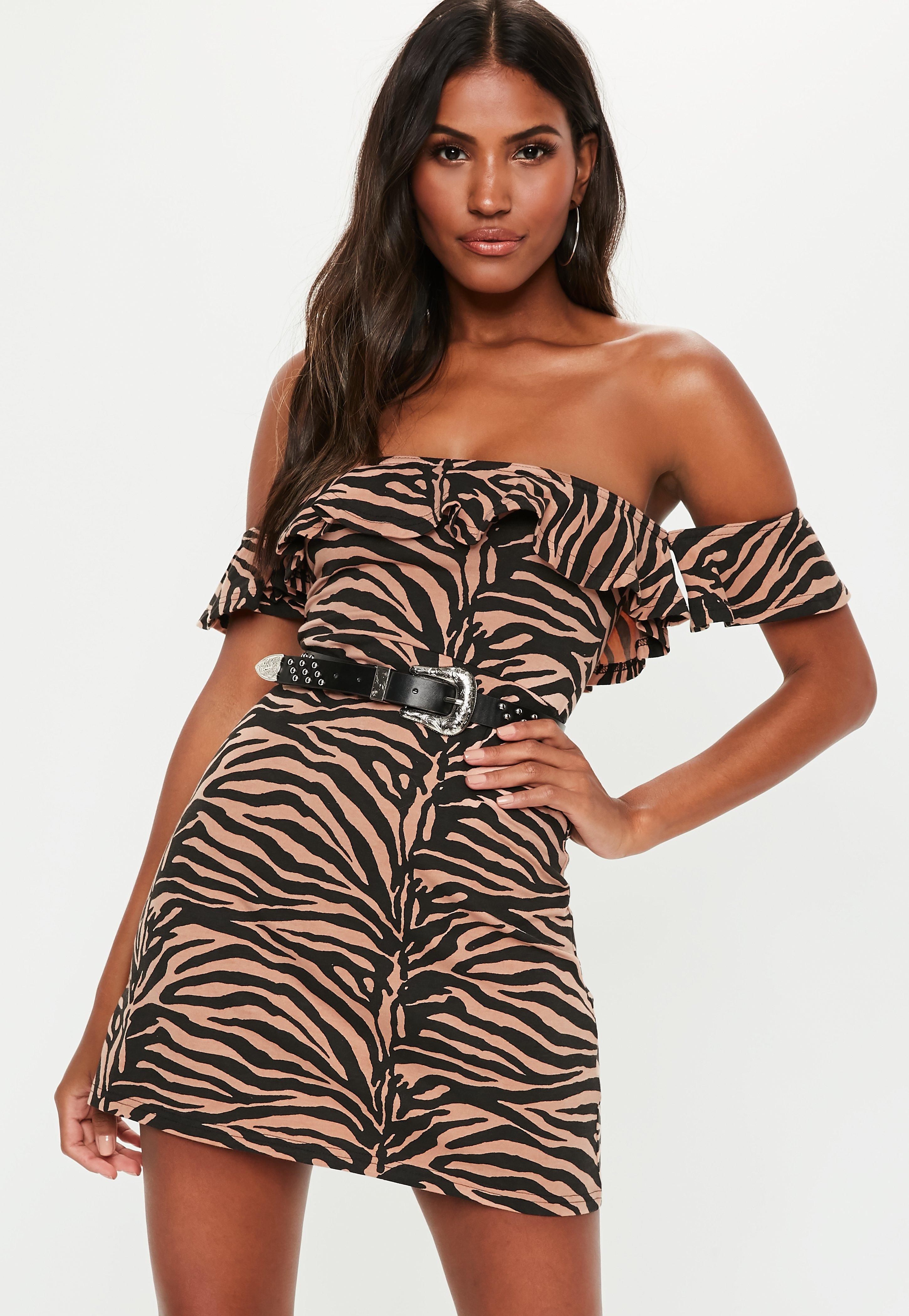 554bdafe388 Missguided - Multicolor Rust Zebra Print Bardot Jersey Skater Dress - Lyst.  View fullscreen