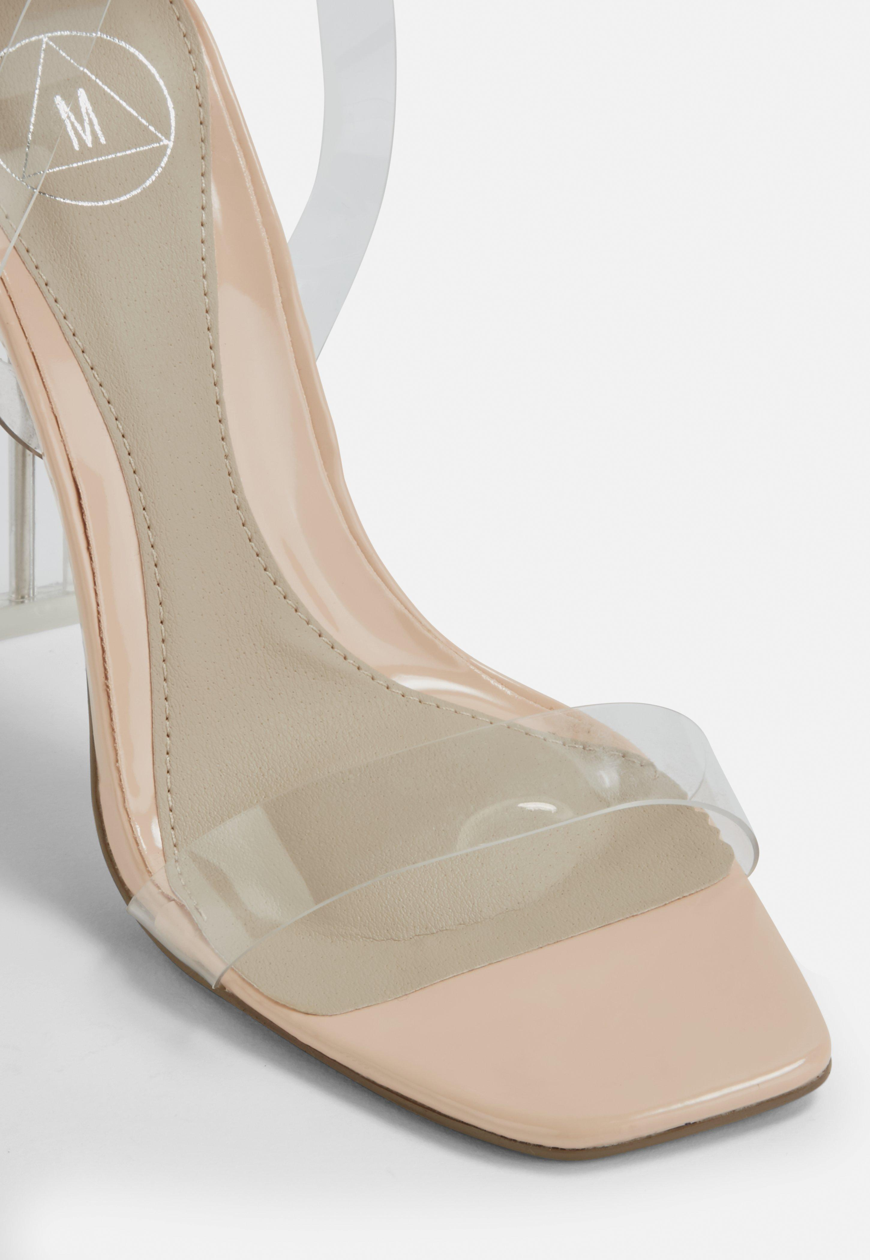 7ffb2c29638 Lyst - Missguided Nude Square Toe Clear Heels in Natural