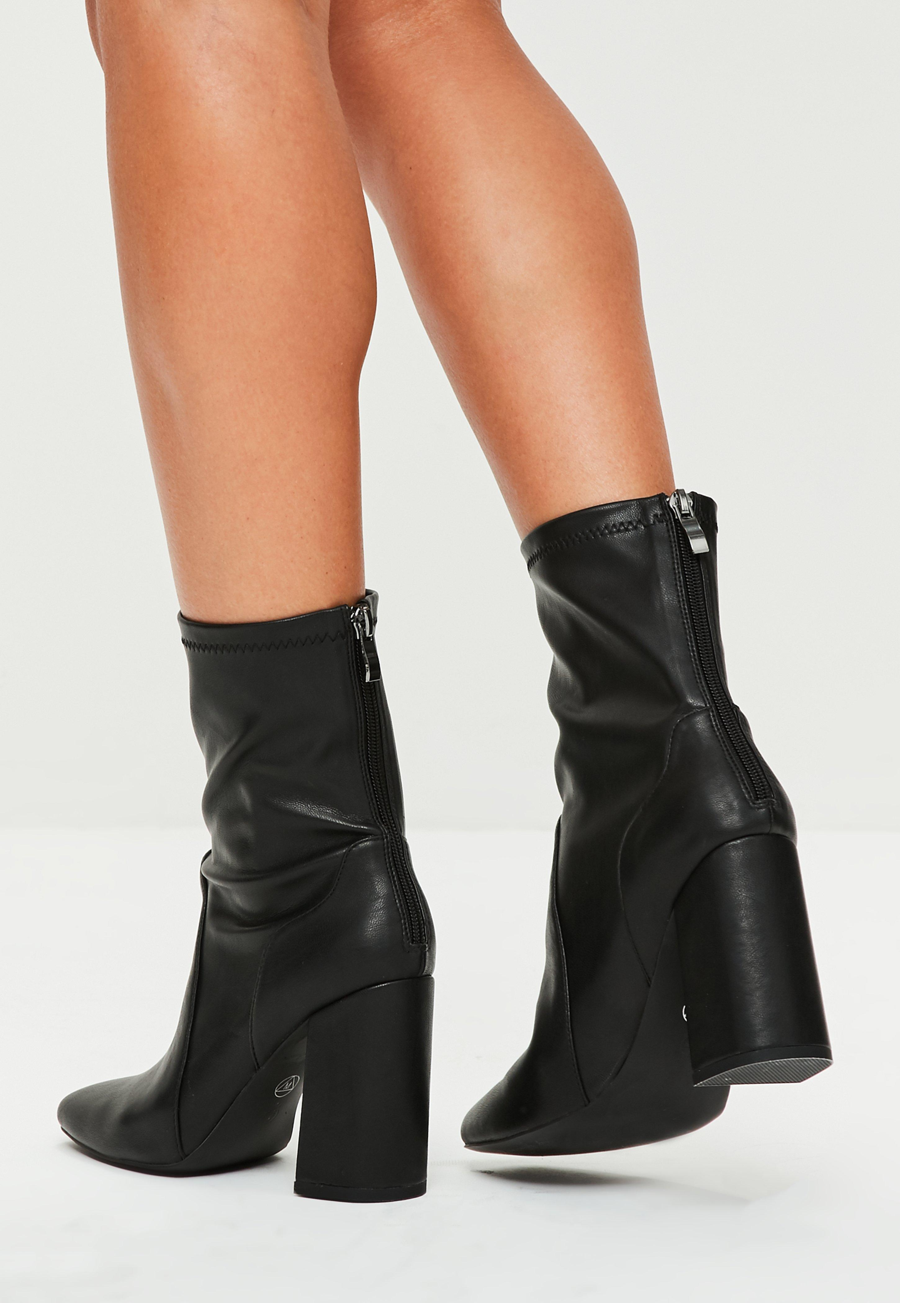 Black Faux Leather Sock Boots