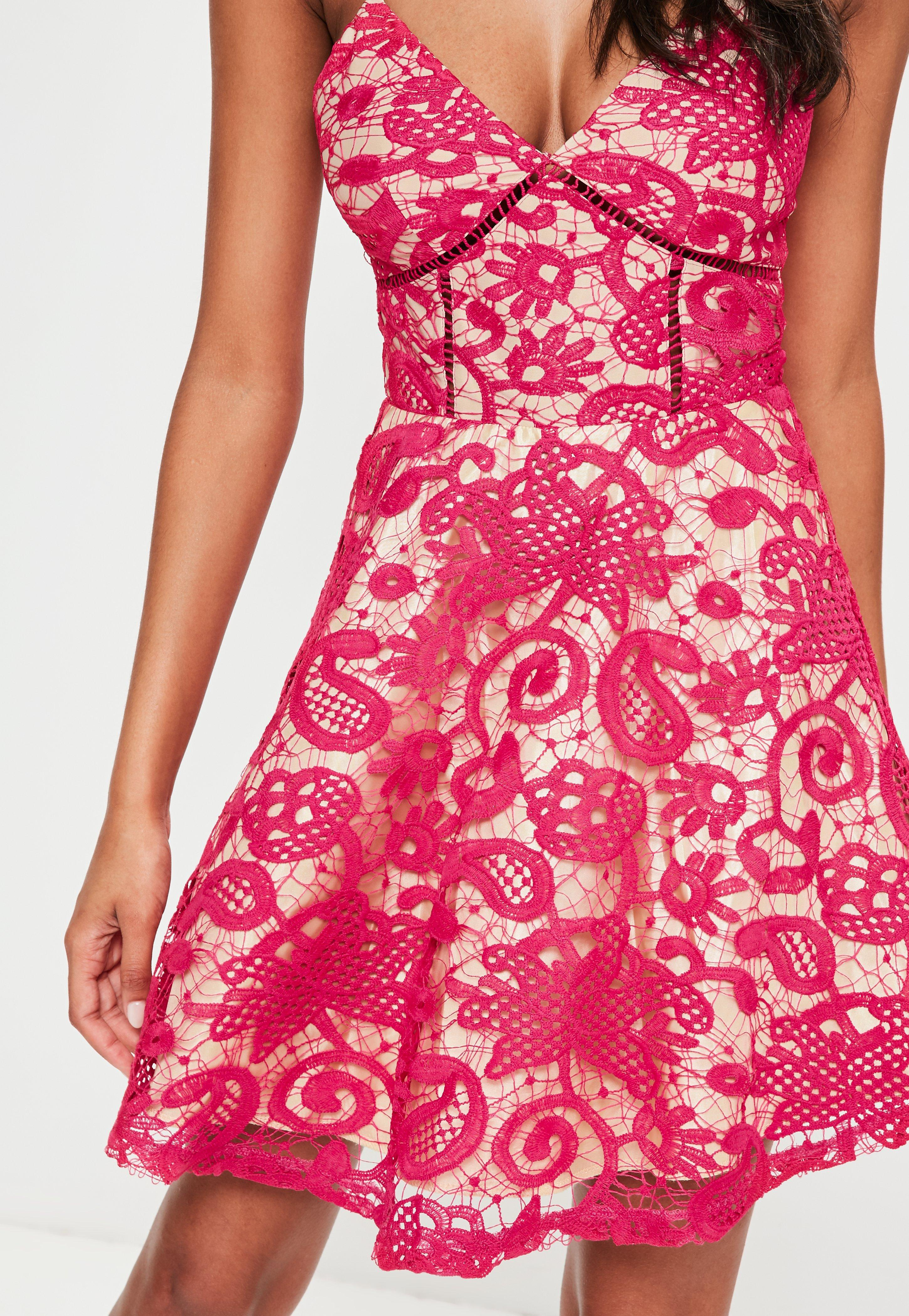 2305738b8a Lyst - Missguided Pink Strappy Lace Skater Dress in Pink