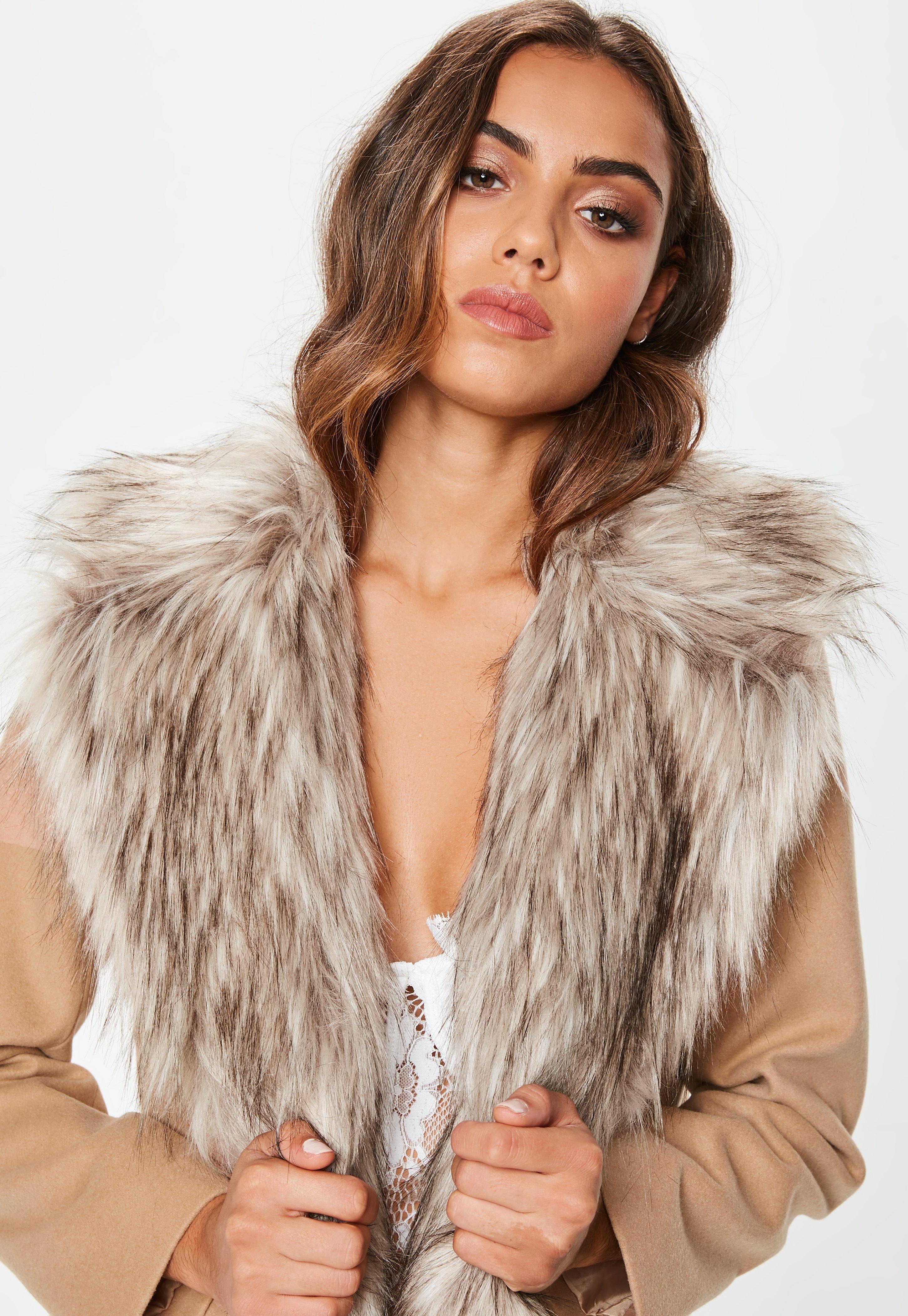 Missguided Camel Faux Fur Collar Short Formal Coat In