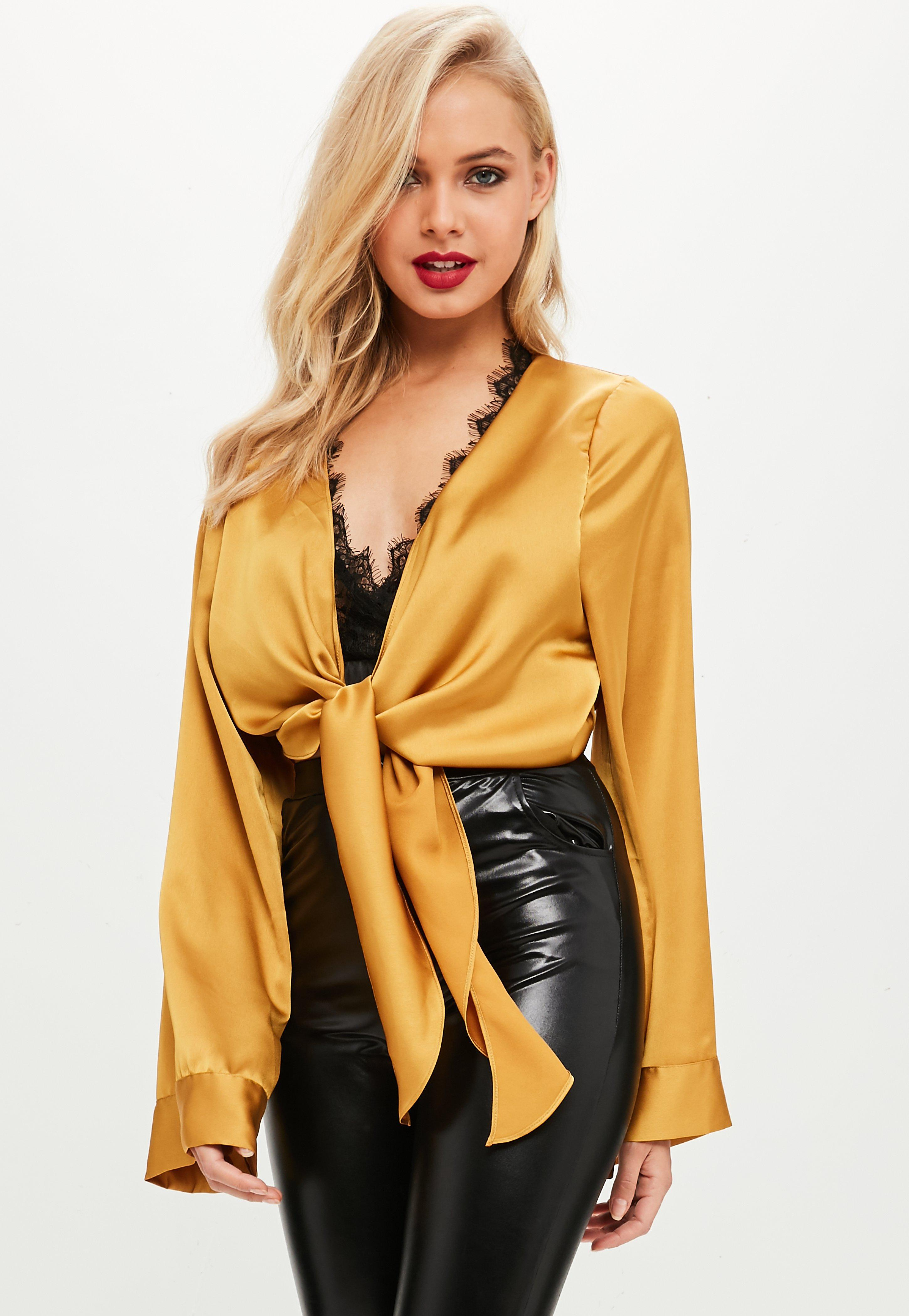a89290eae1bb19 Lyst - Missguided Mustard Yellow Satin Tie Front Lace Trim Crop Top ...