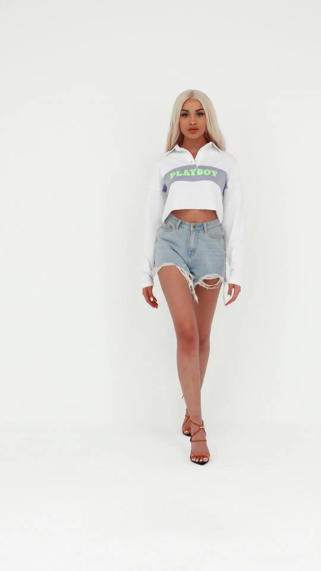 d2dd0147f8057 Missguided - Playboy X White Cropped Graphic Rugby Shirt - Lyst. View  fullscreen