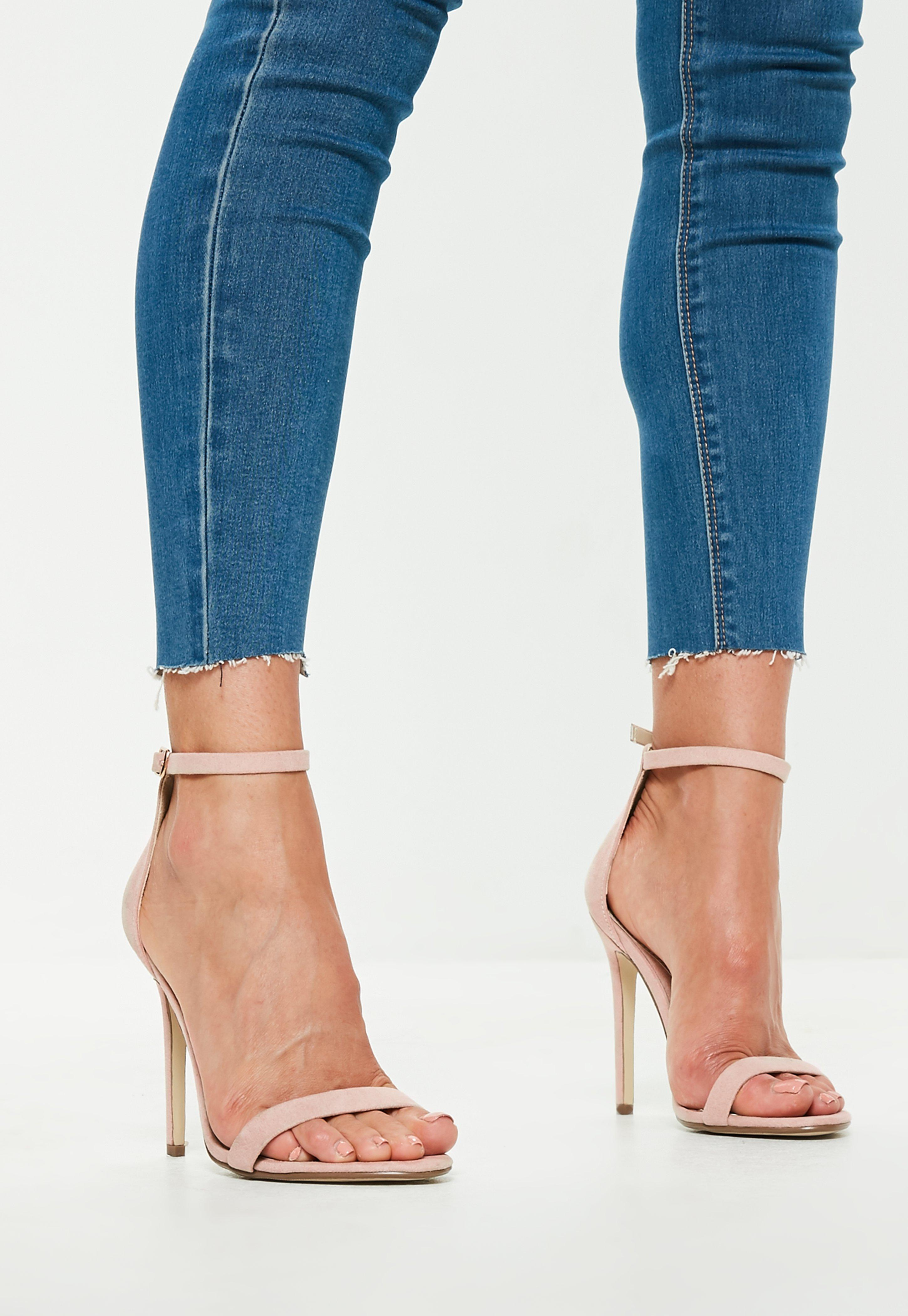 b2bc6966c8ac Lyst - Missguided Nude Faux Suede Two Strap Barely There Heels in Blue