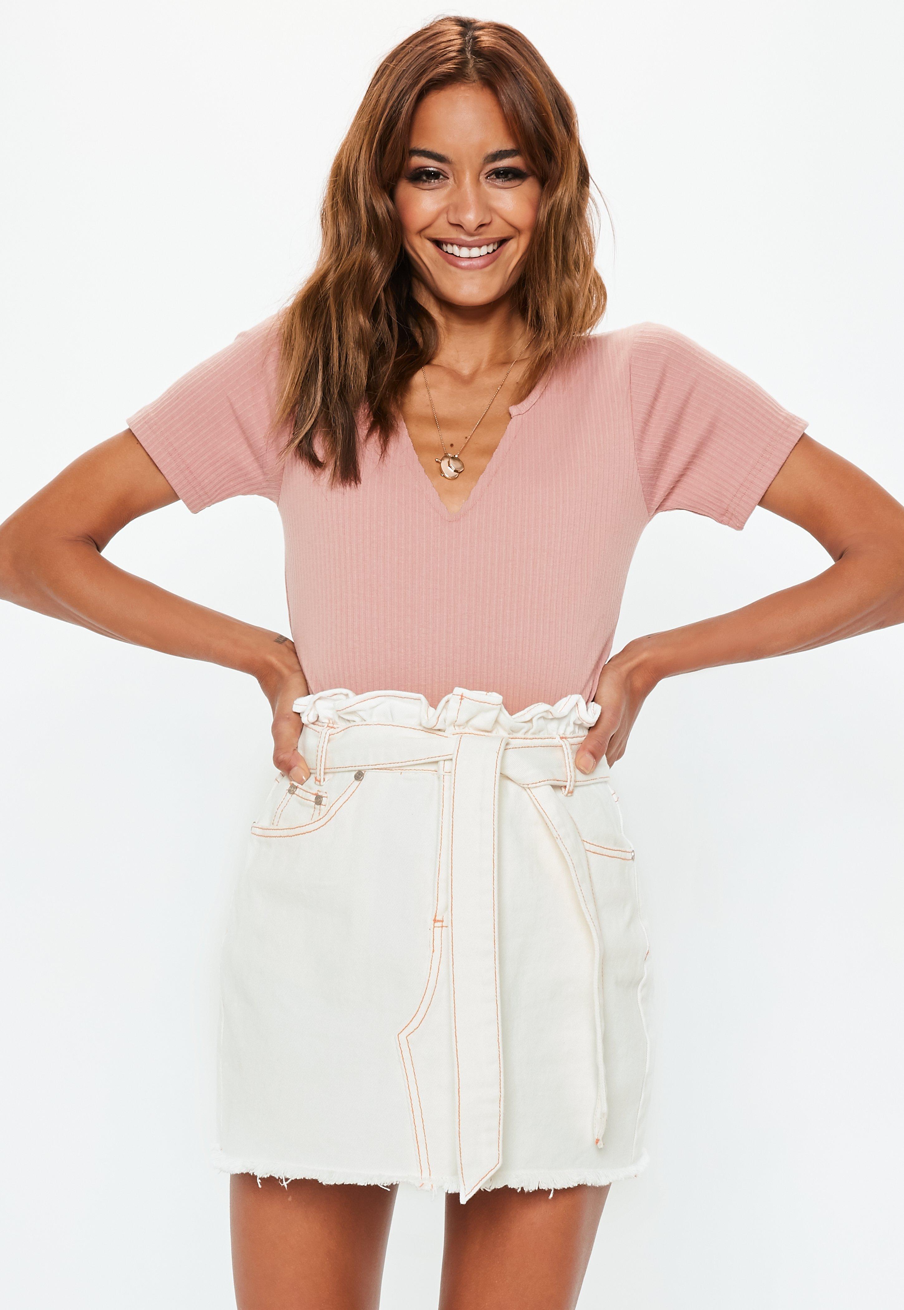 b3e196ade Lyst - Missguided White Contrast Stitch Paperbag Denim Mini Skirt in ...