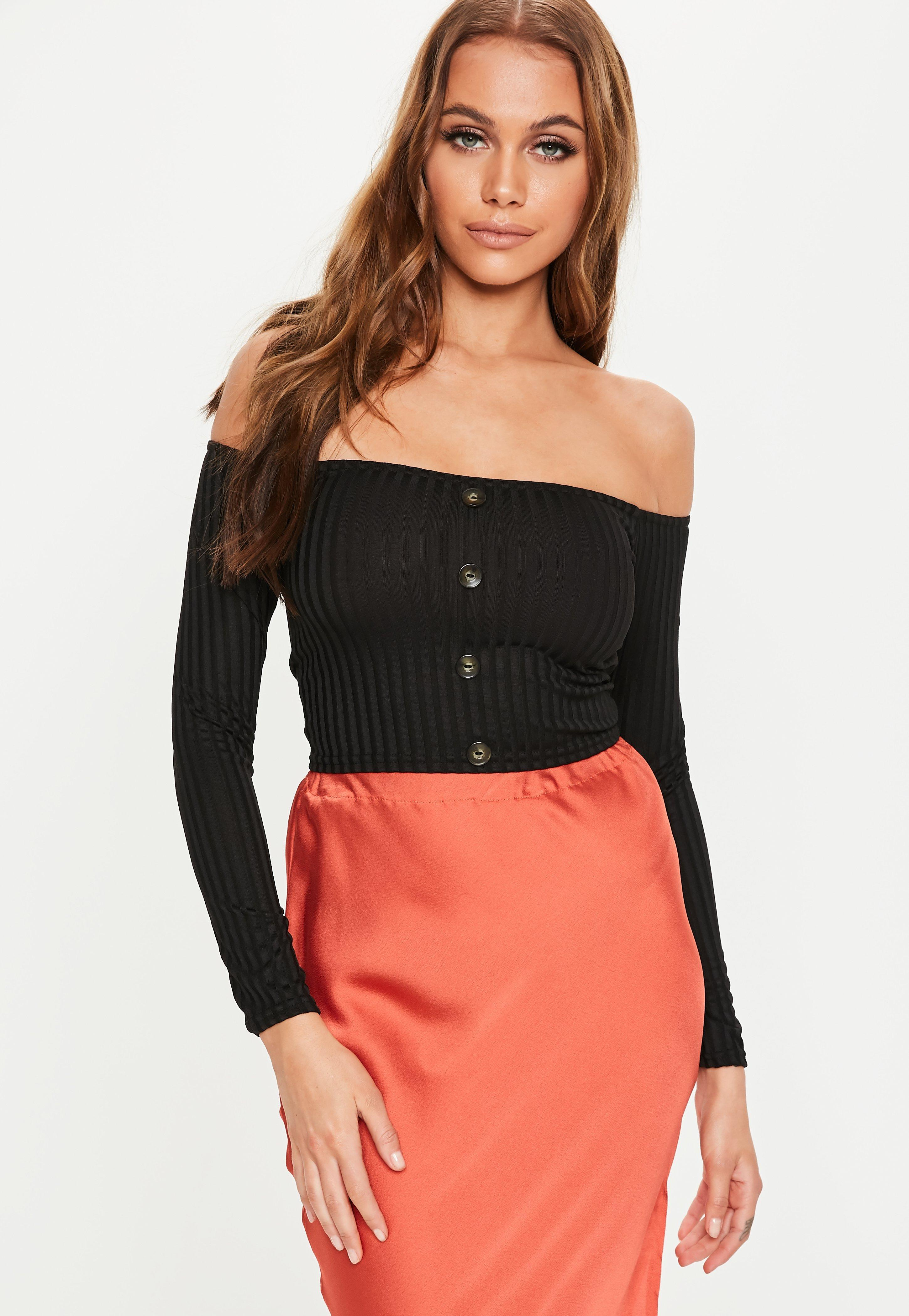 9ed59546bb842 Lyst - Missguided Petite Black Horn Button Bardot Crop Top in Black