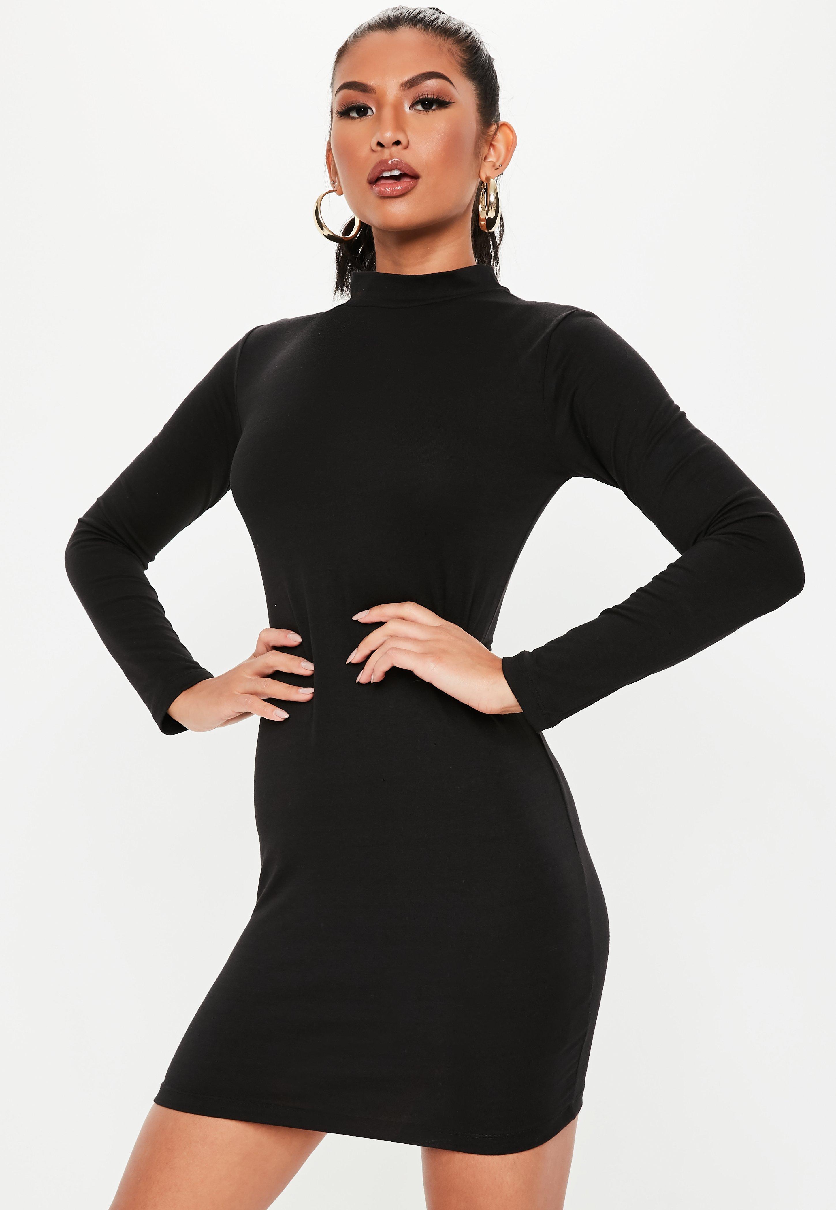 122af2534c1 Lyst - Missguided Black High Neck Curve Hem Mini Dress in Black