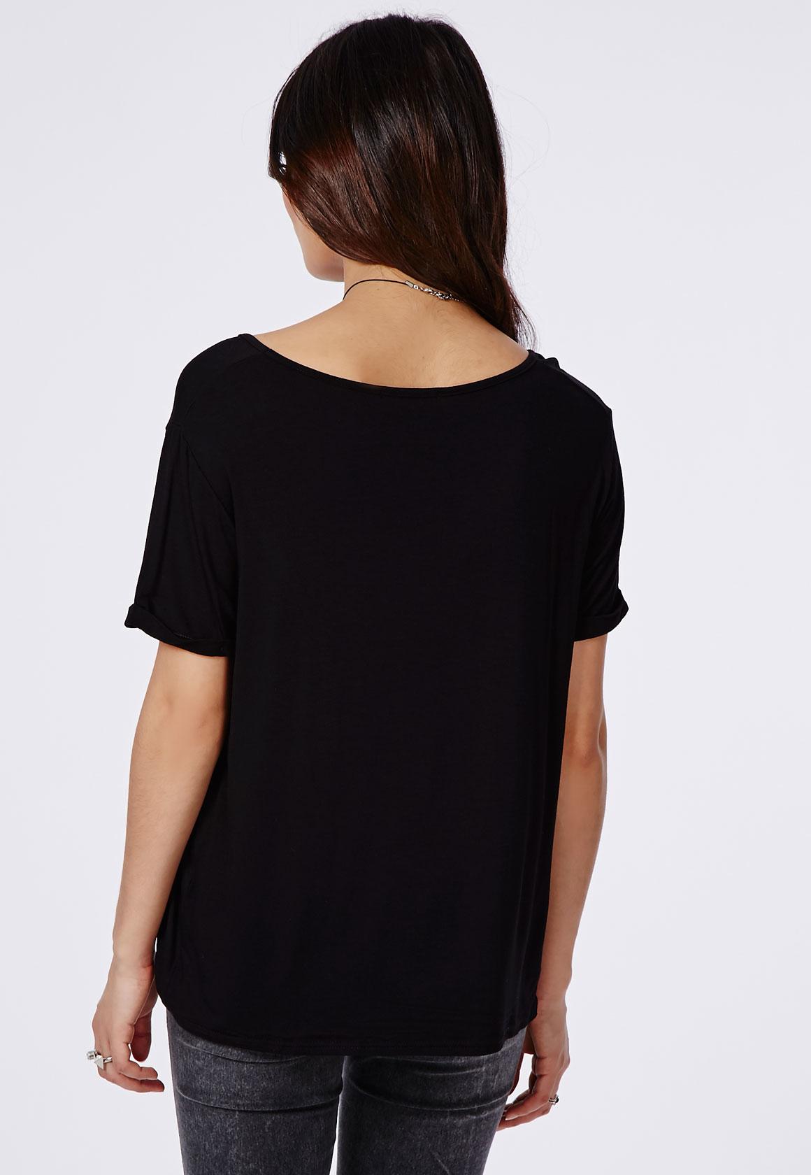 Missguided Boyfriend V Neck T Shirt Black In Black Lyst