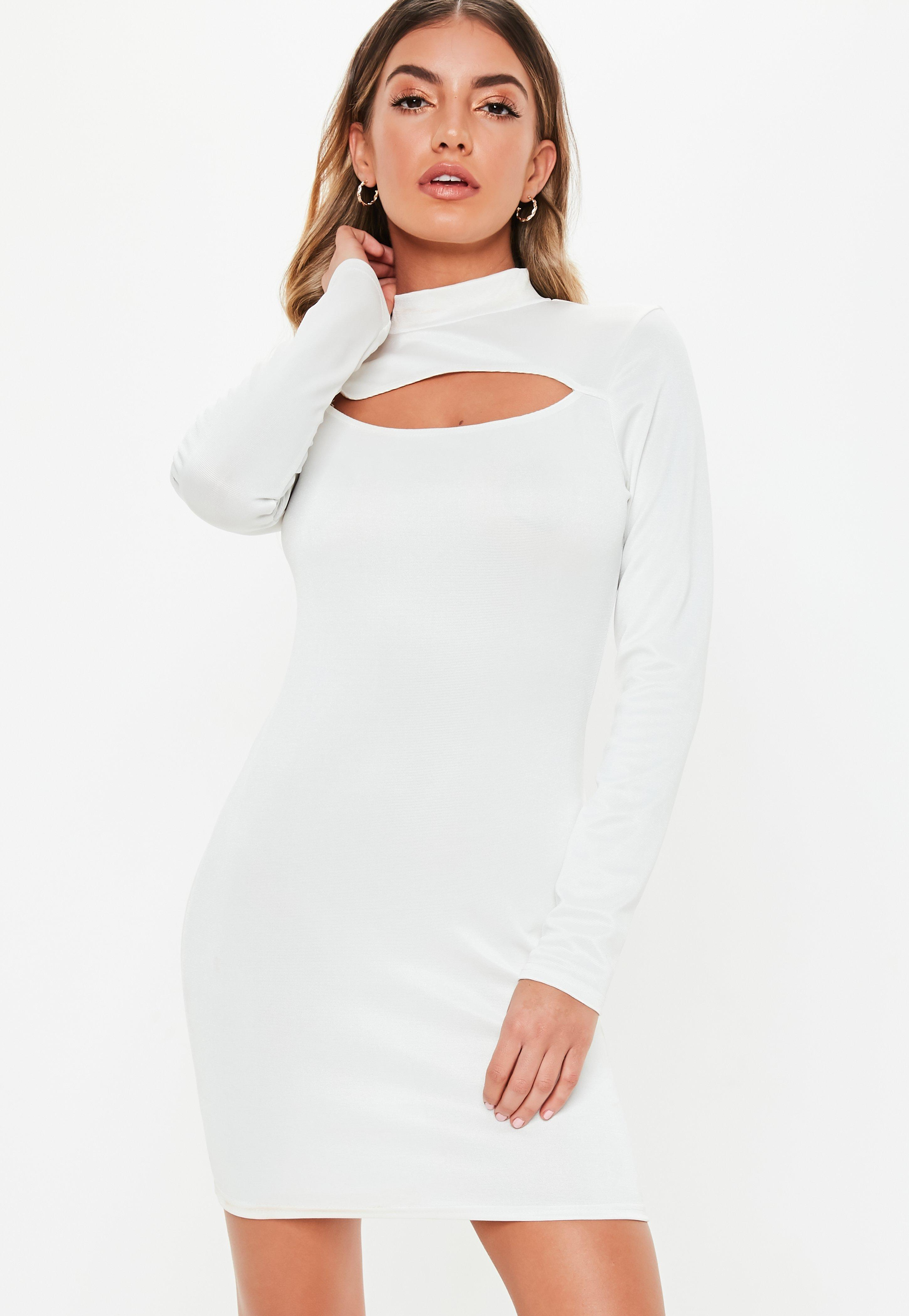 1b4936ebdcf2 Missguided White Bandage Cut Out Bodycon Mini Dress in White - Lyst
