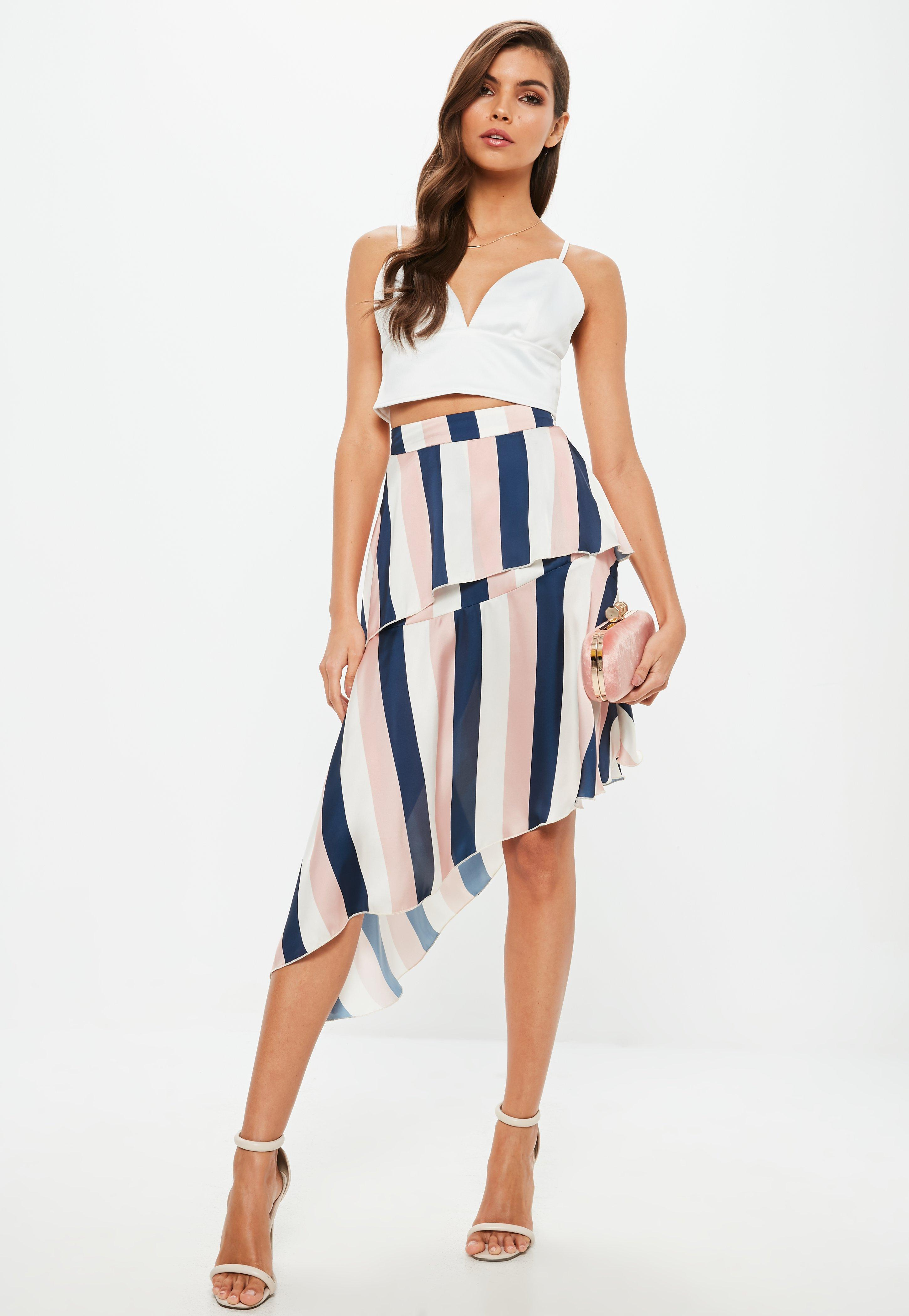 e4259fb5a88560 Lyst - Missguided Pink Satin Stripe Layer Asymmetric Midi Skirt in Pink