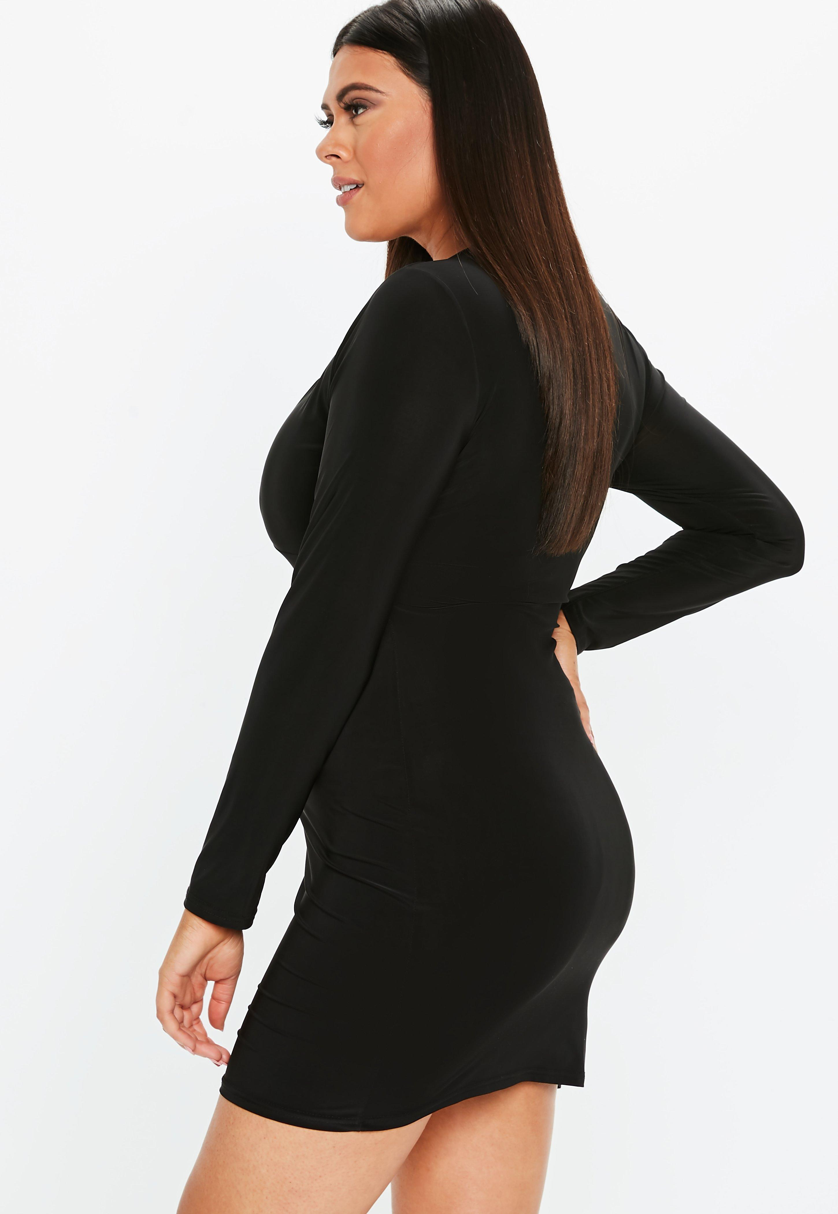 Plus Size Black Long Sleeve Plunge Mini Dress