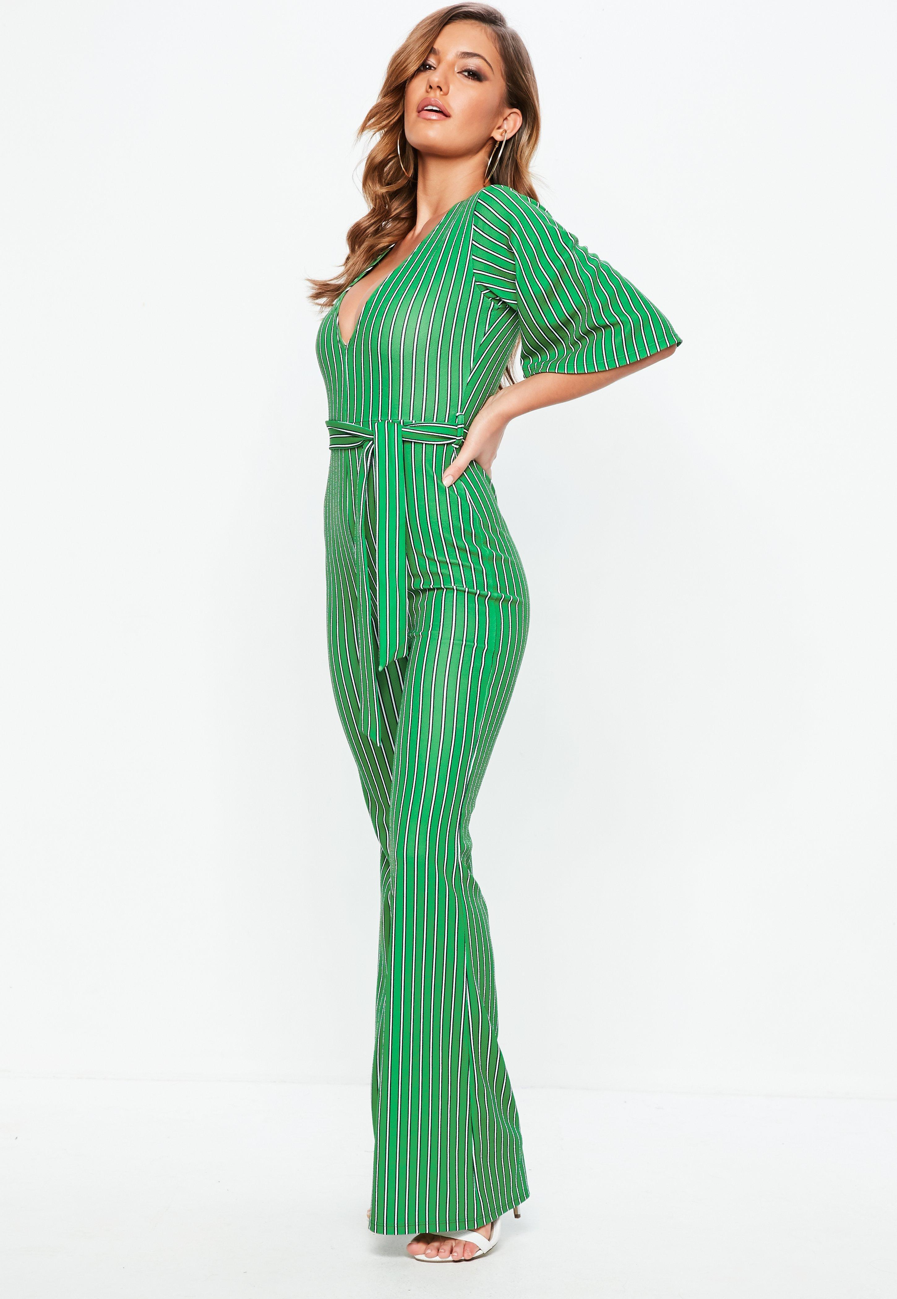 b228550f037 Missguided - Green Stripe Plunge Kimono Stripe Sleeve Jumpsuit - Lyst. View  fullscreen