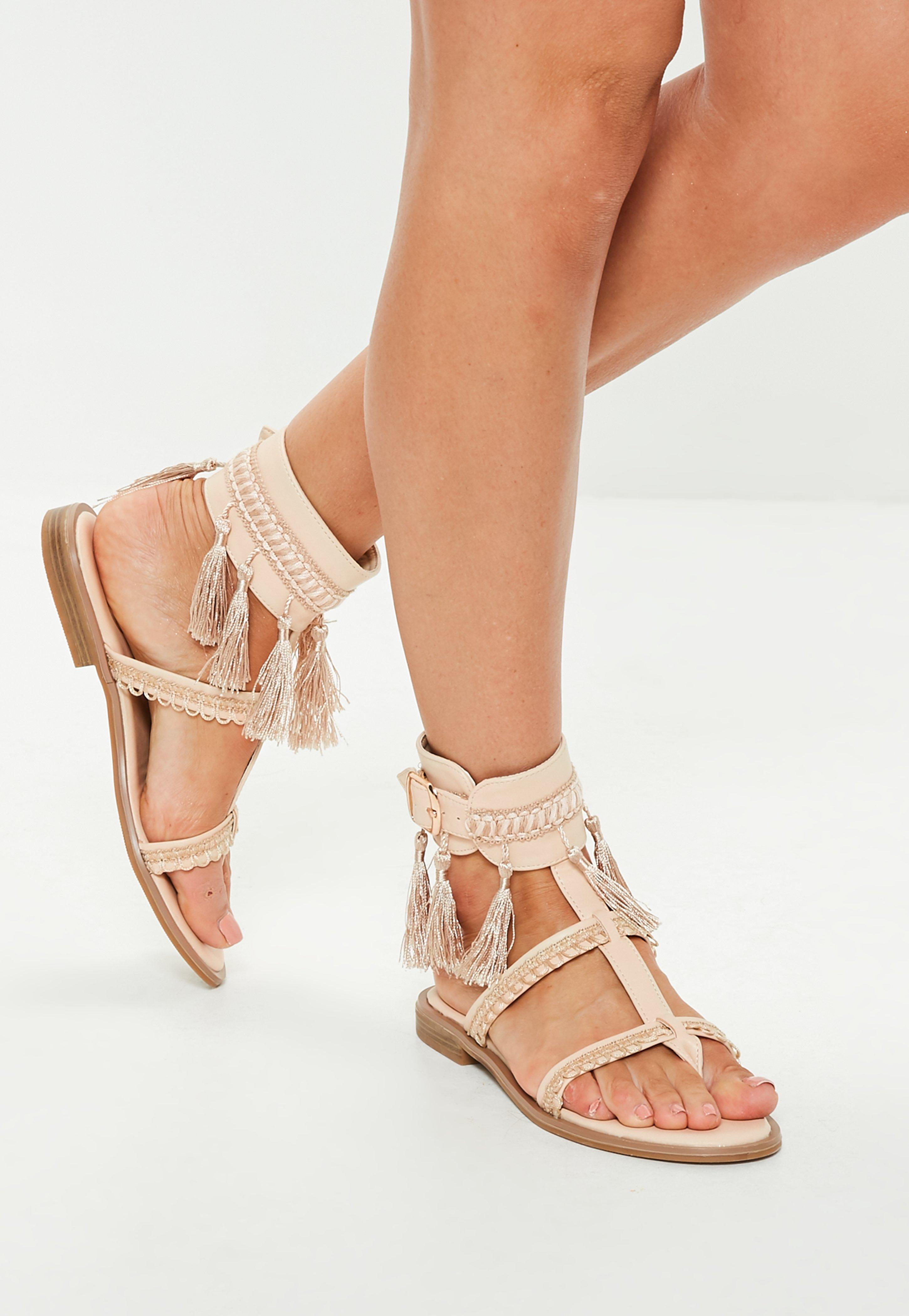 d3bb5161b77d Missguided Nude Tassel Buckle Flat Sandals in Natural - Lyst