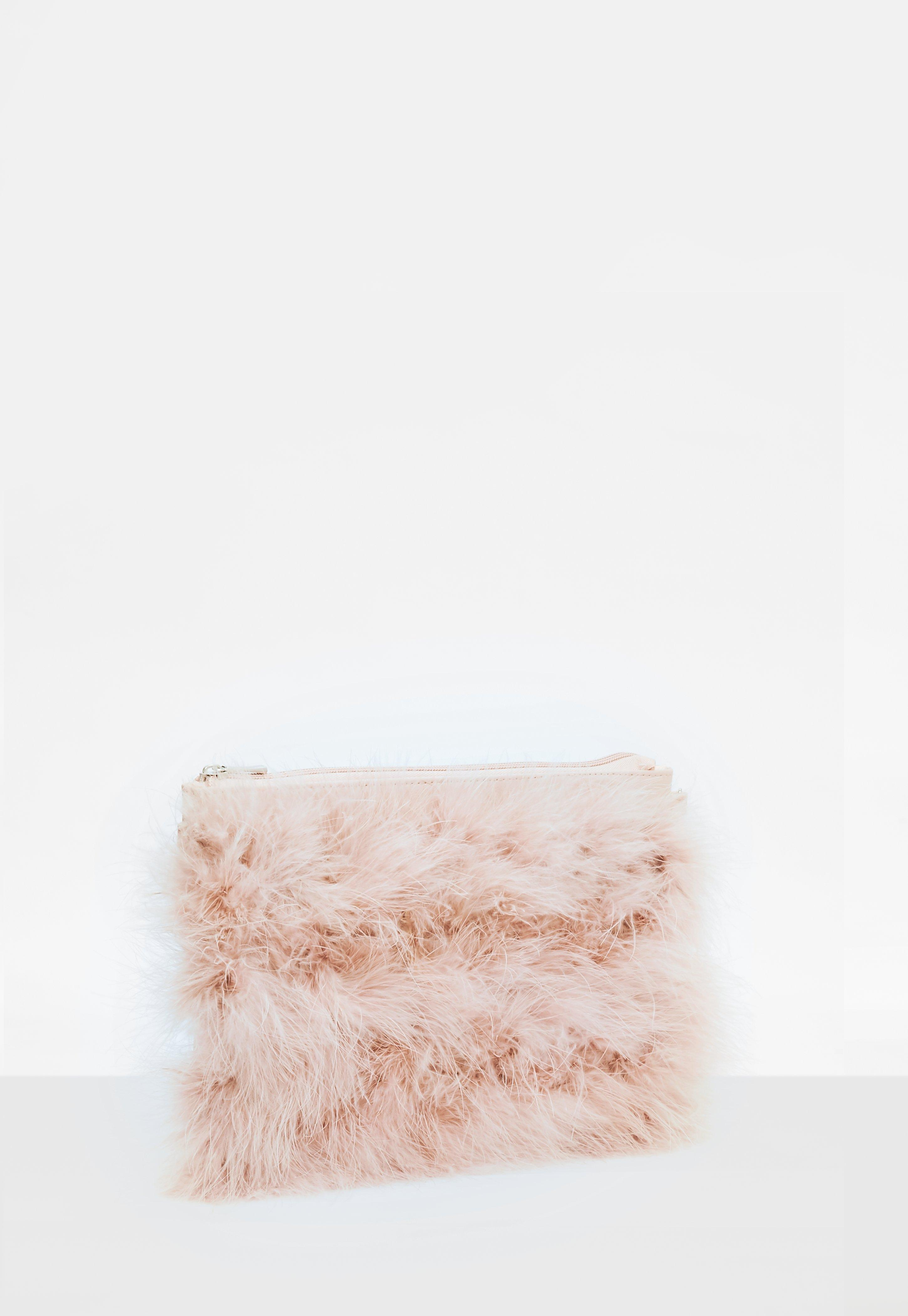 Lyst - Missguided Nude Feather Clutch Bag in Natural 5df79d2e68