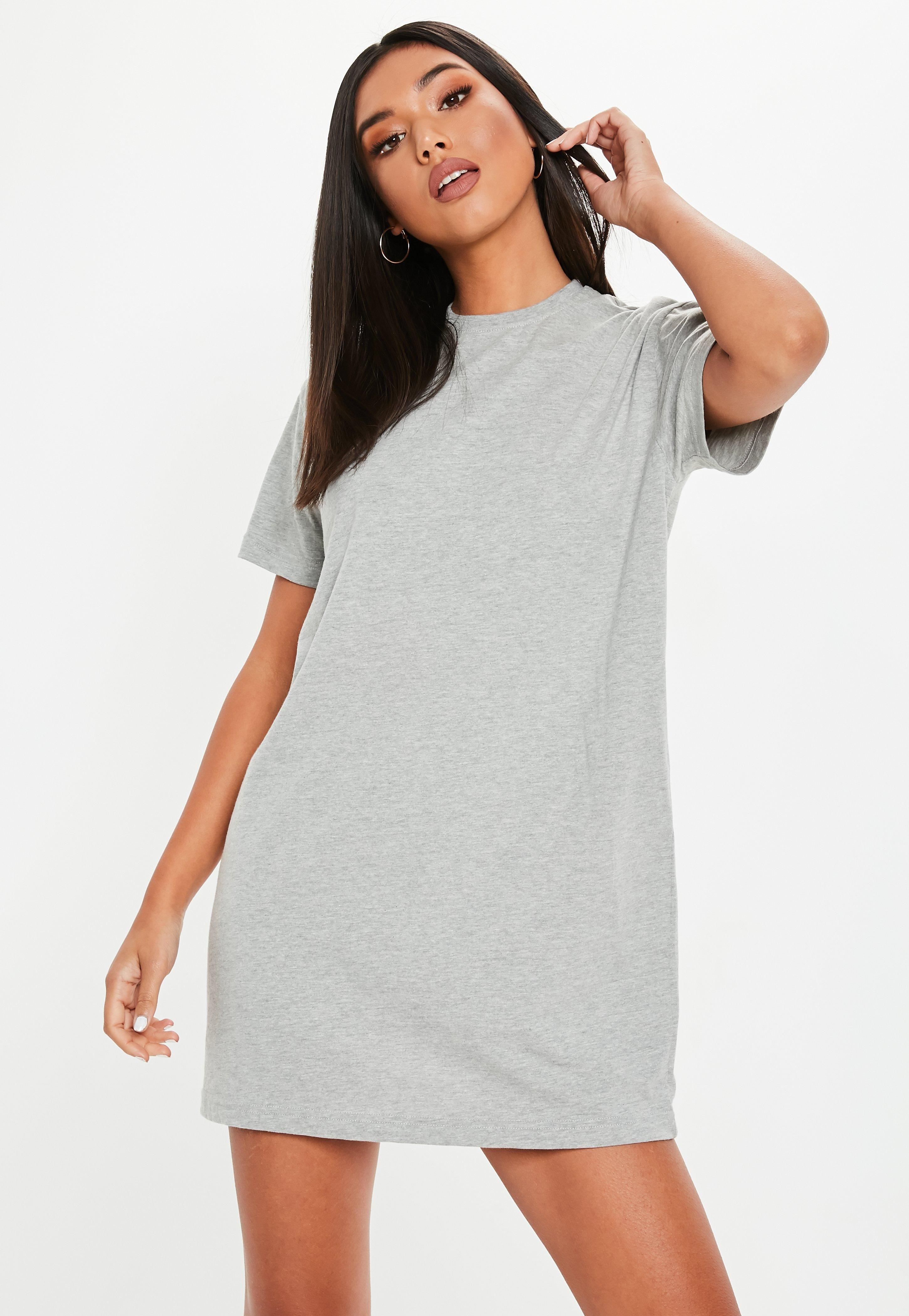 bf66ffe41749 Lyst - Missguided Gray Basic T Shirt Dress in Gray