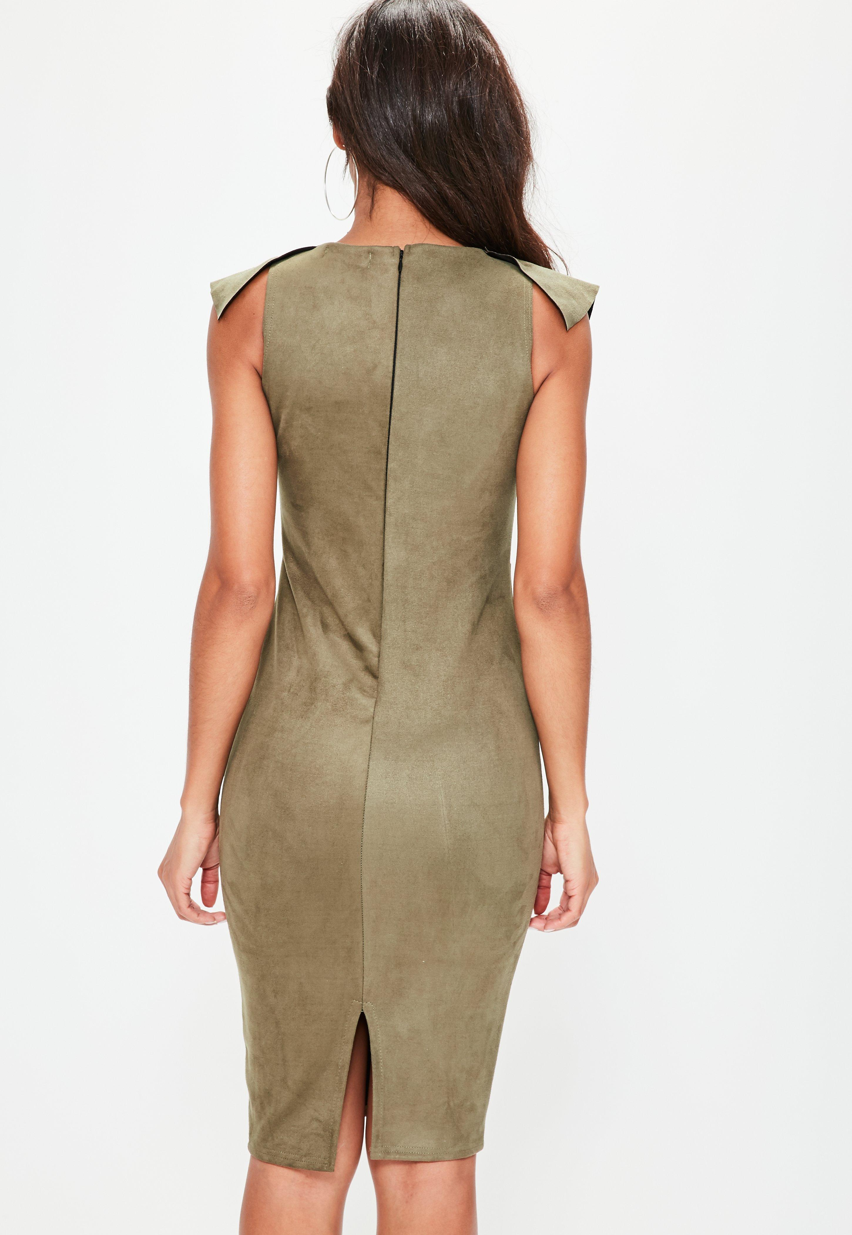 White suede digital placement dress