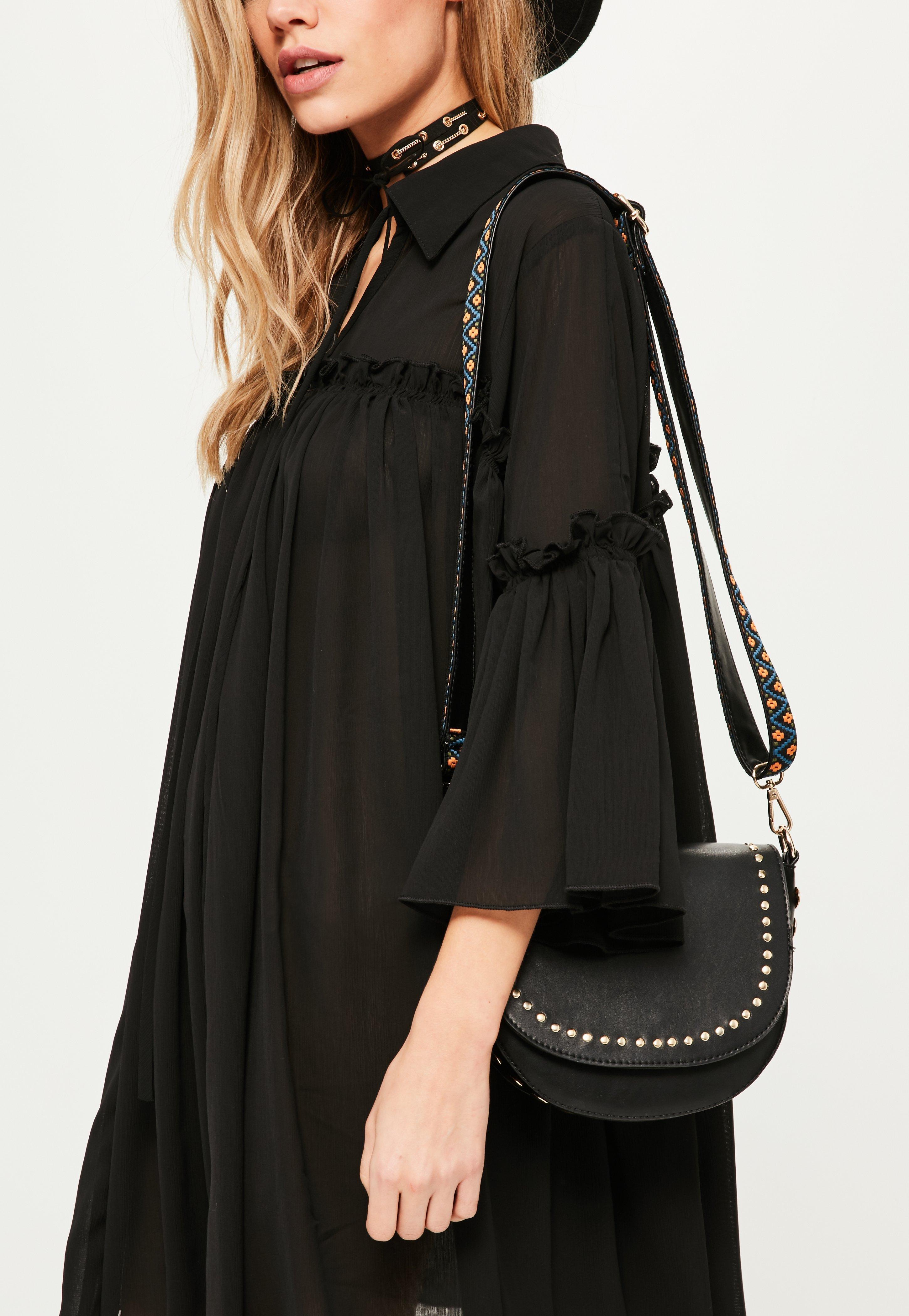Missguided Black Studded Guitar Strap Cross Body Bag