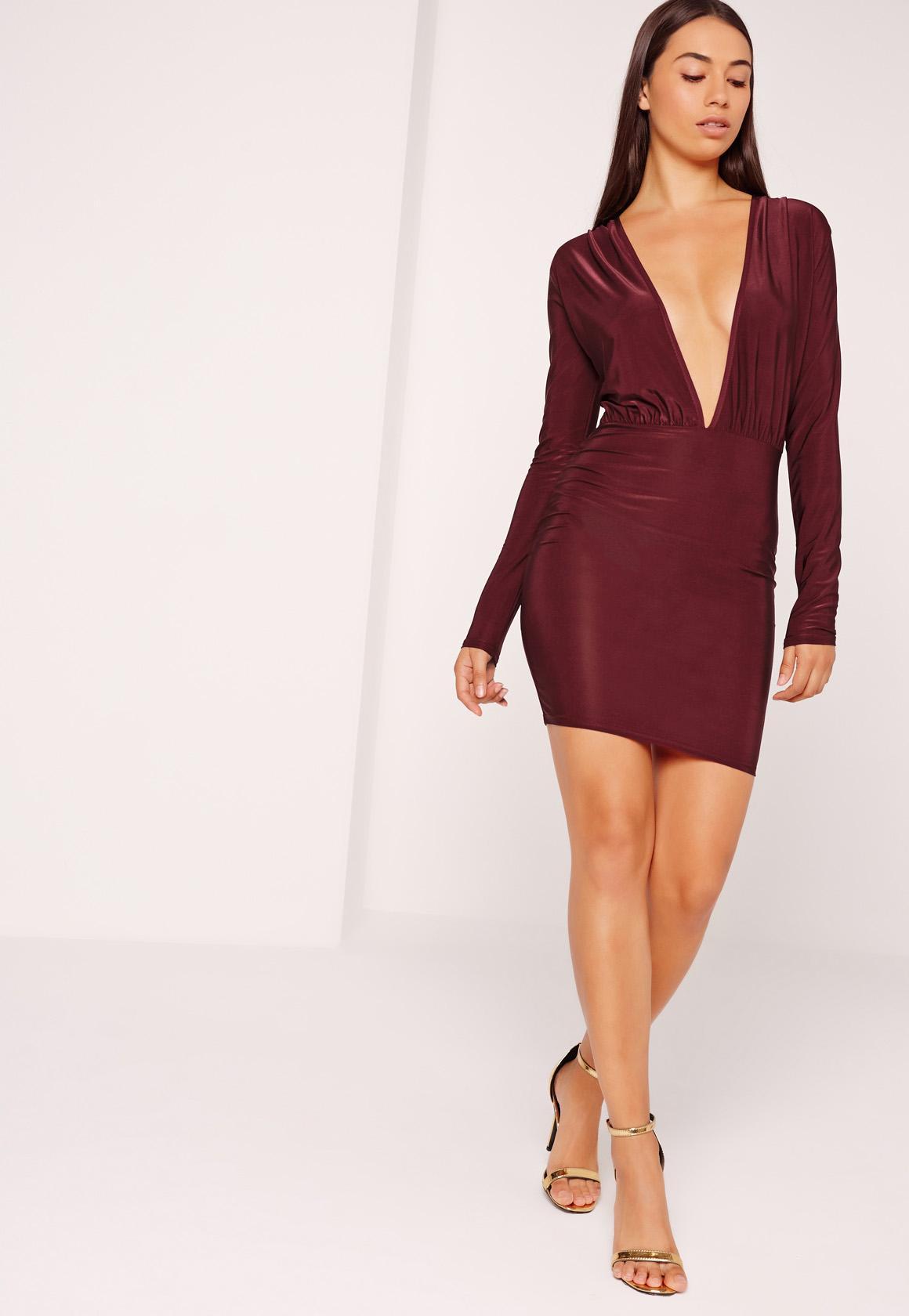 Missguided Slinky Long Sleeve Bodycon Dress Burgundy