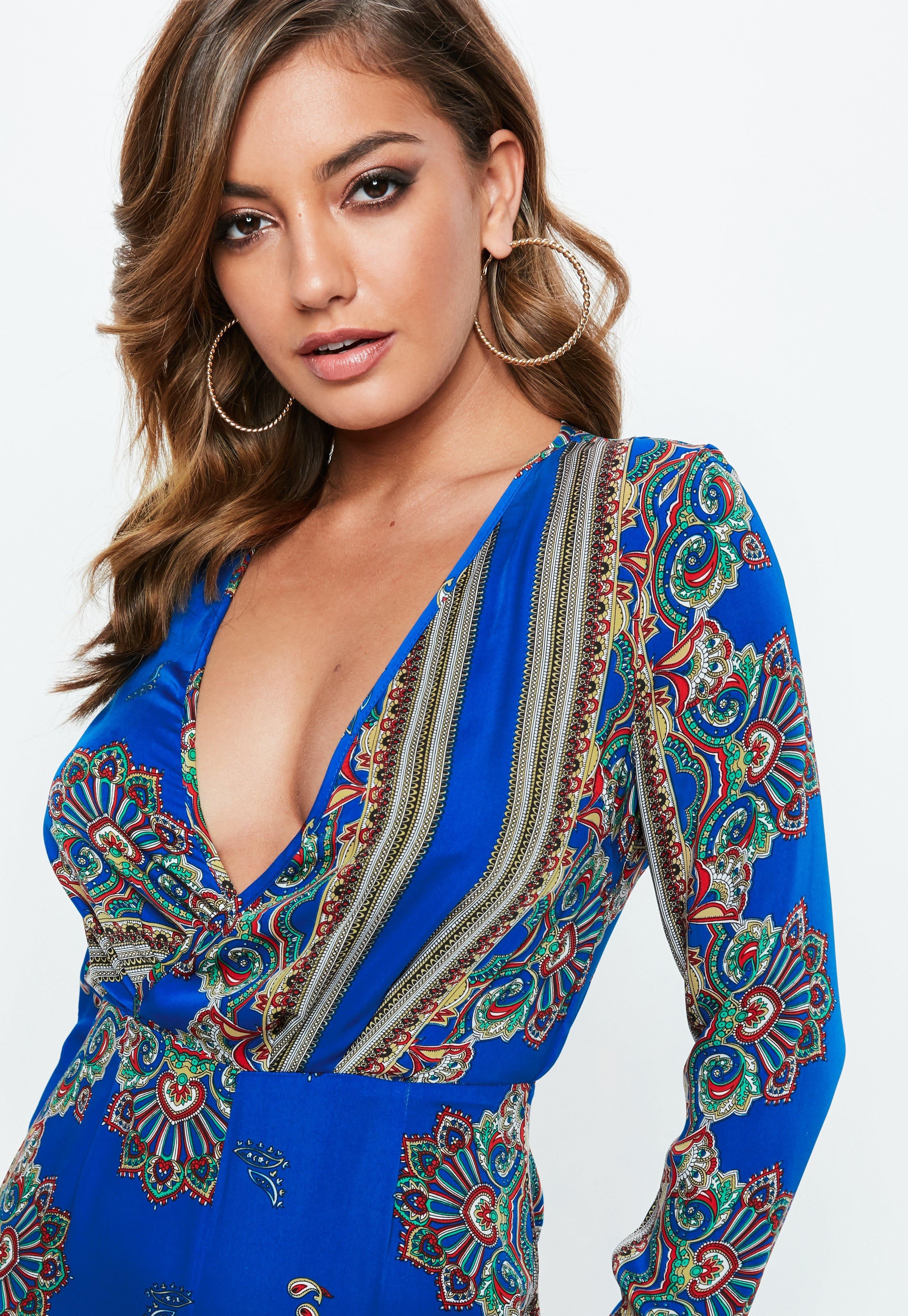 34f77d06268 Missguided Blue Printed Long Sleeve Split Leg Jumpsuit in Blue - Lyst