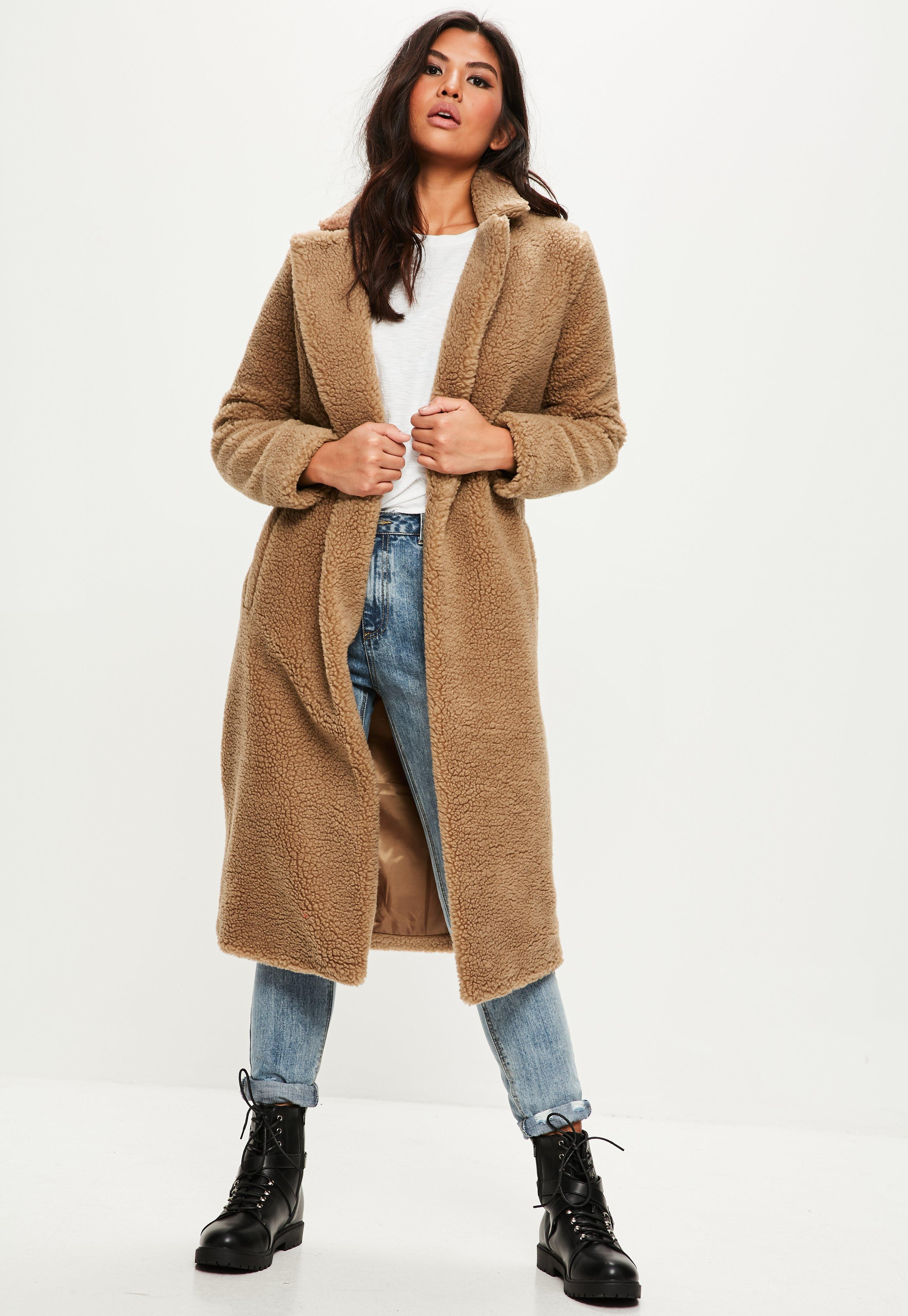 Lyst Missguided Tan Borg Teddy Coat In Brown