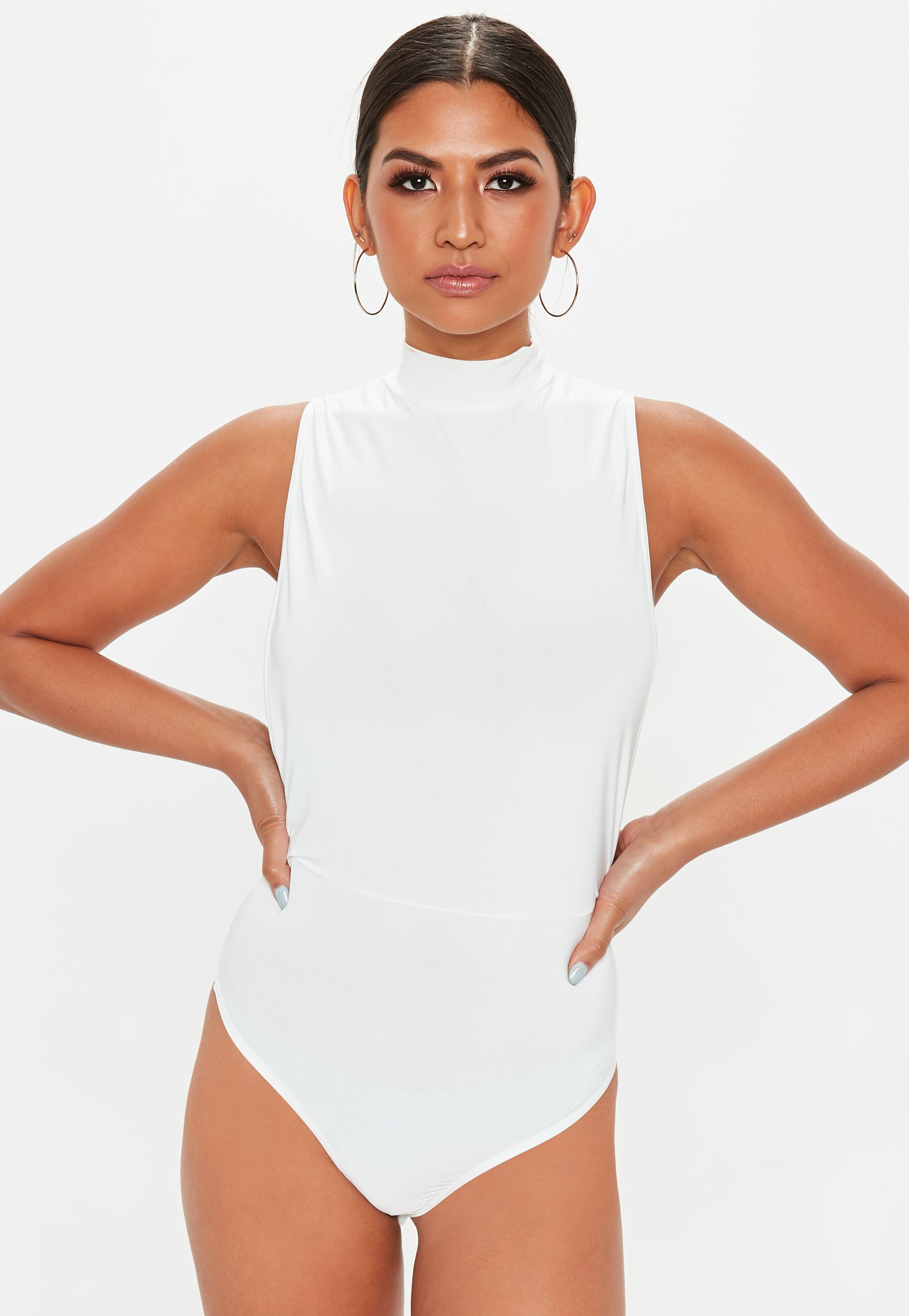 Lyst - Missguided White High Neck Side Boob Slinky Bodysuit in White d24f5eb51