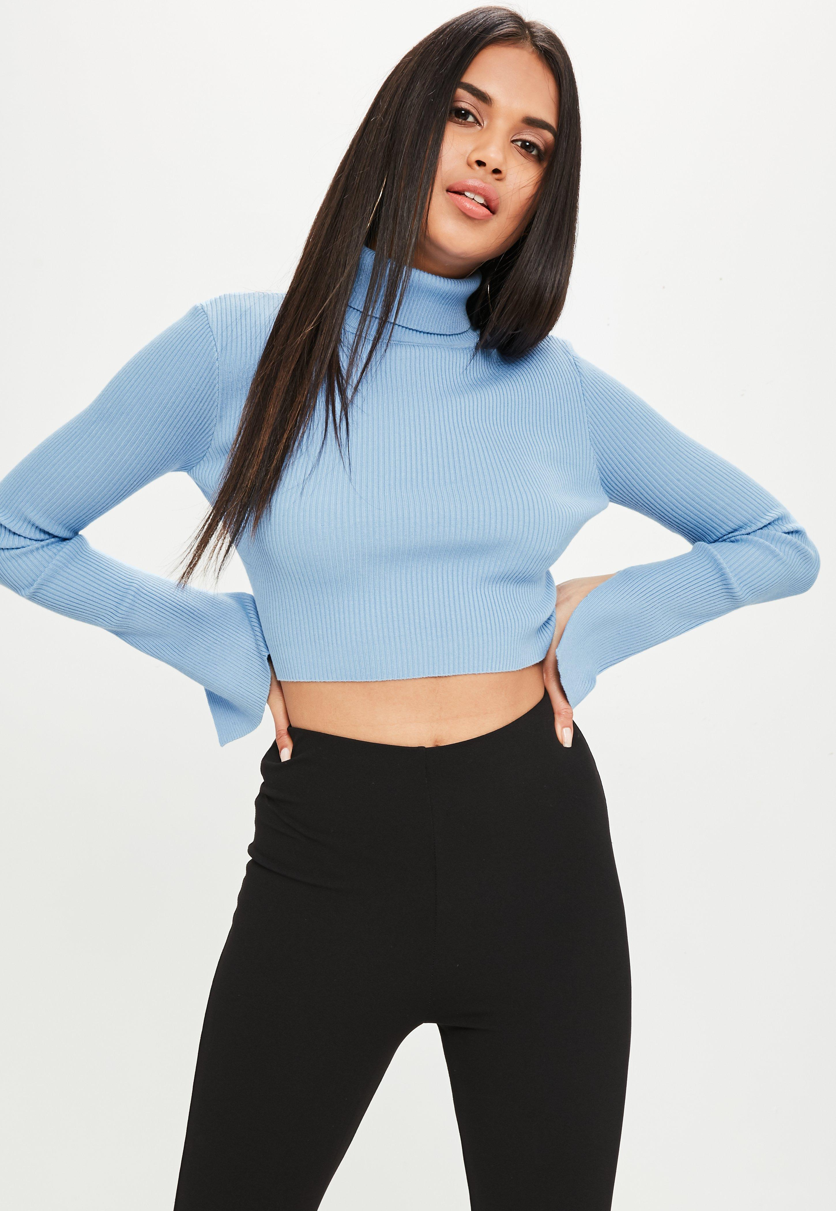 In Missguided Cropped Blue High Ribbed Lyst Sweater Neck 6wUqn0f