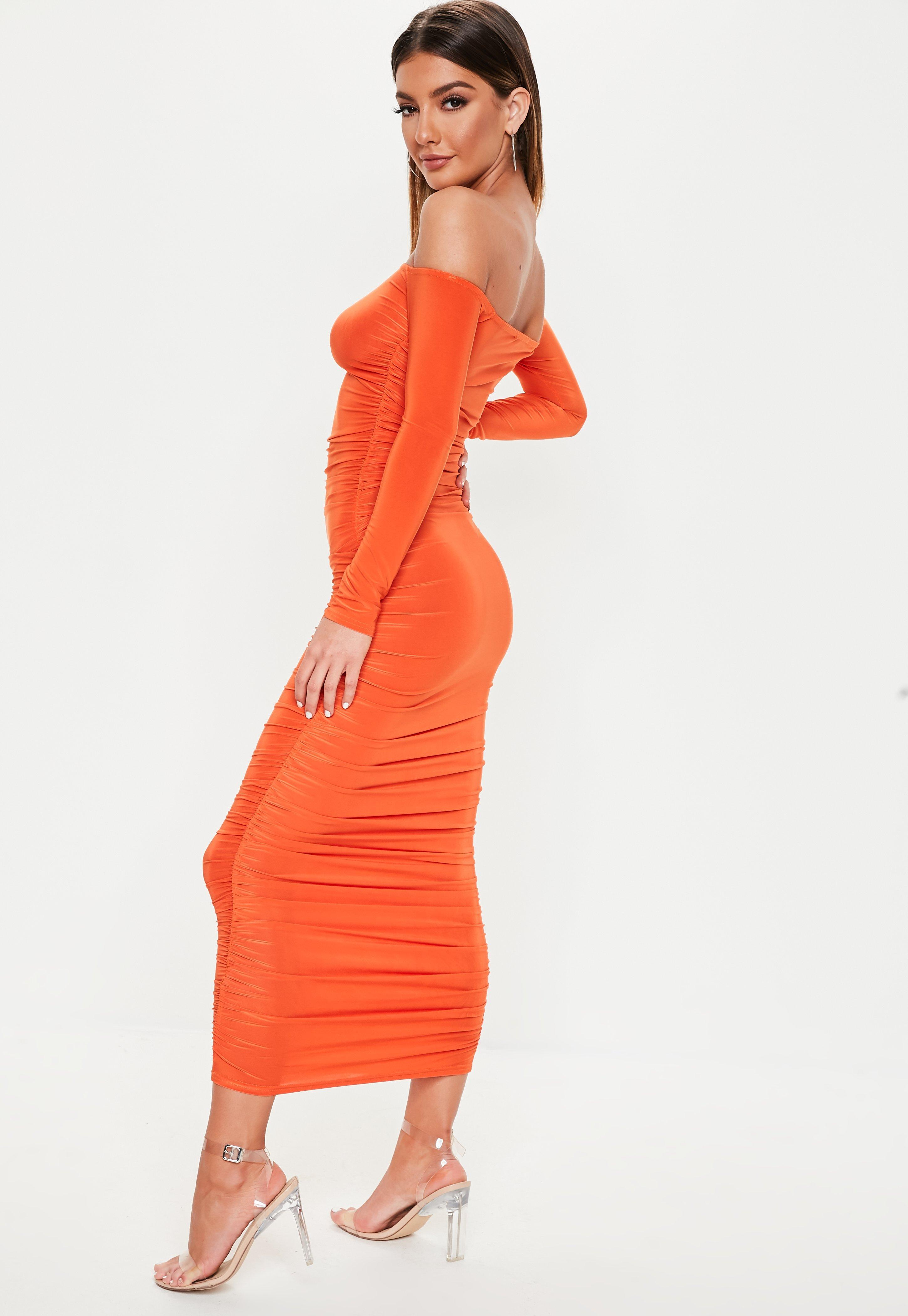e717a08b7caf Missguided - Orange Bardot Slinky Ruched Bodycon Midaxi Dress - Lyst. View  fullscreen
