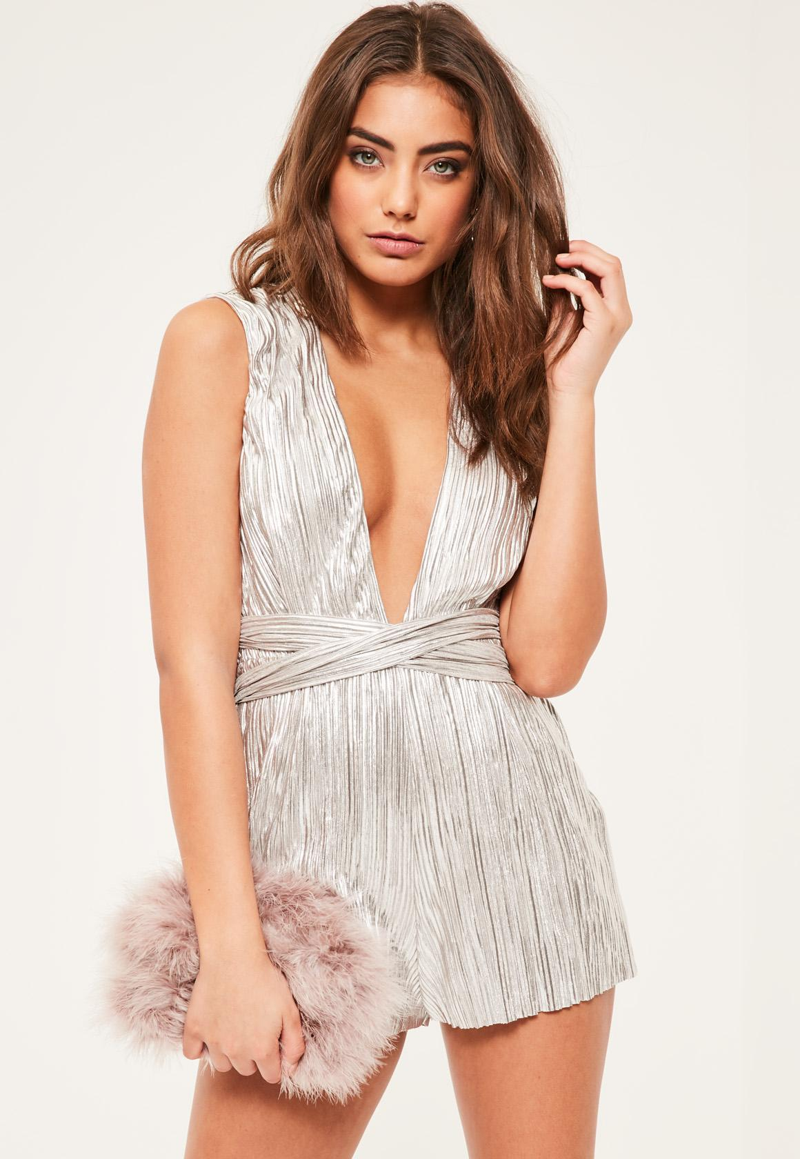 397f7793ec0 Lyst - Missguided Petite Exclusive Silver Pleated Playsuit in Metallic