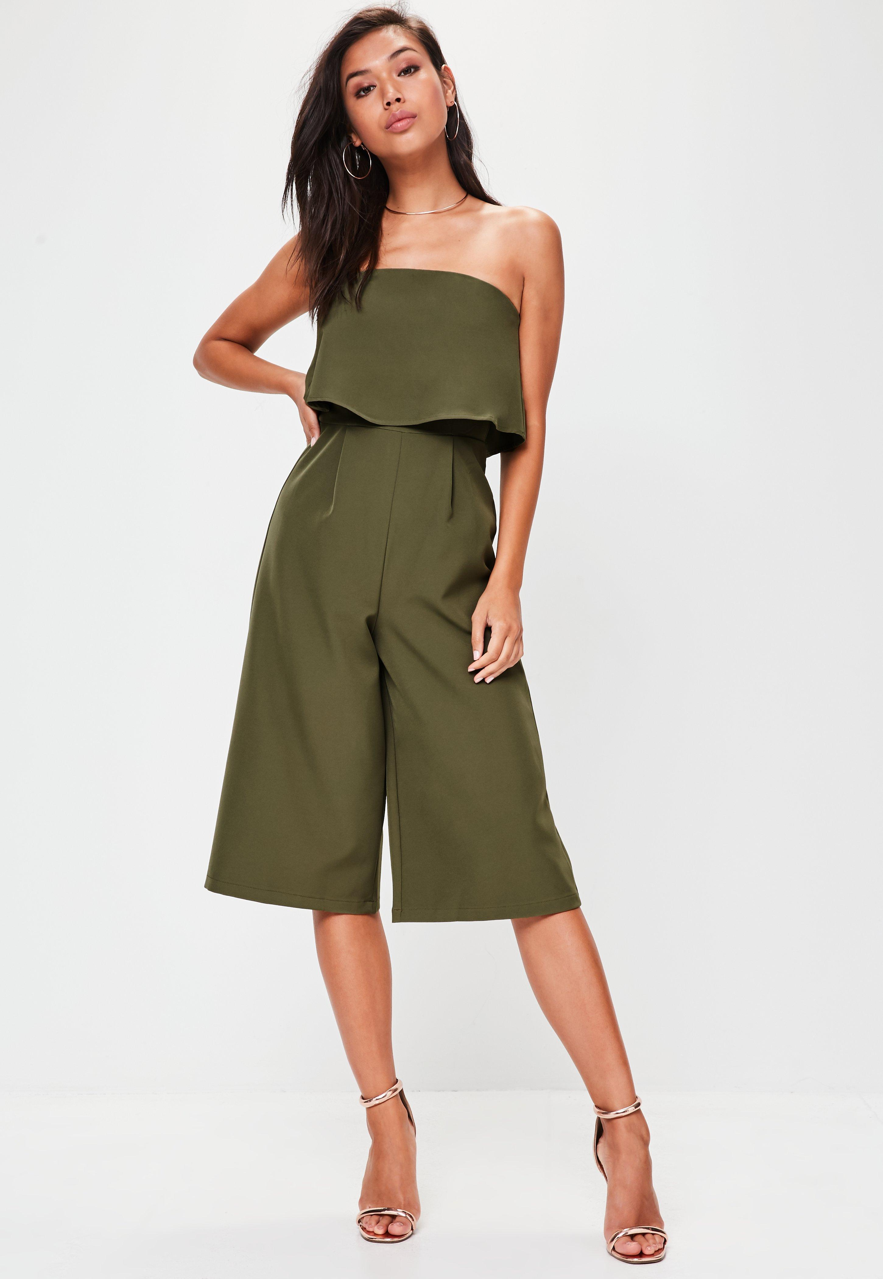 2880495ae07 Missguided - Green Khaki Crepe Double Layer Culotte Jumpsuit - Lyst. View  fullscreen