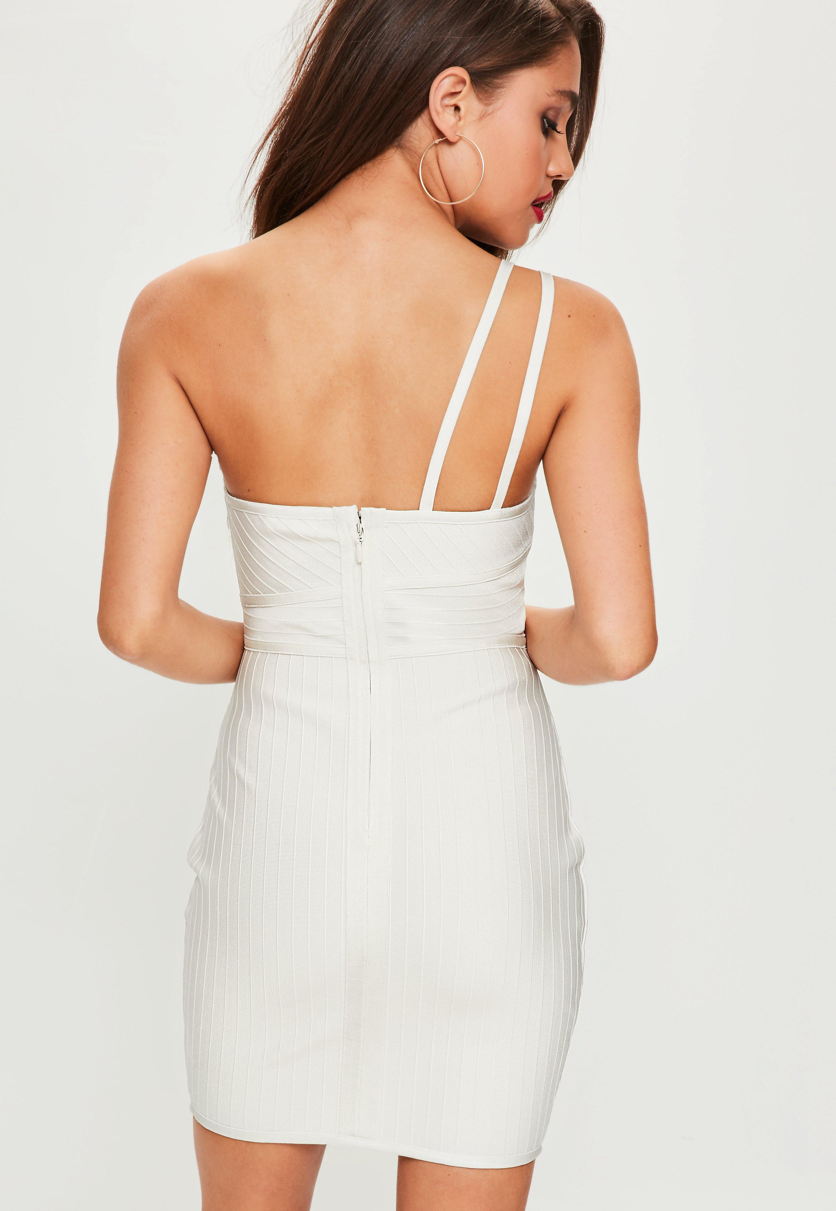 7c089d1dfdf1 Missguided White One Shoulder Bandage Mini Dress in White - Lyst