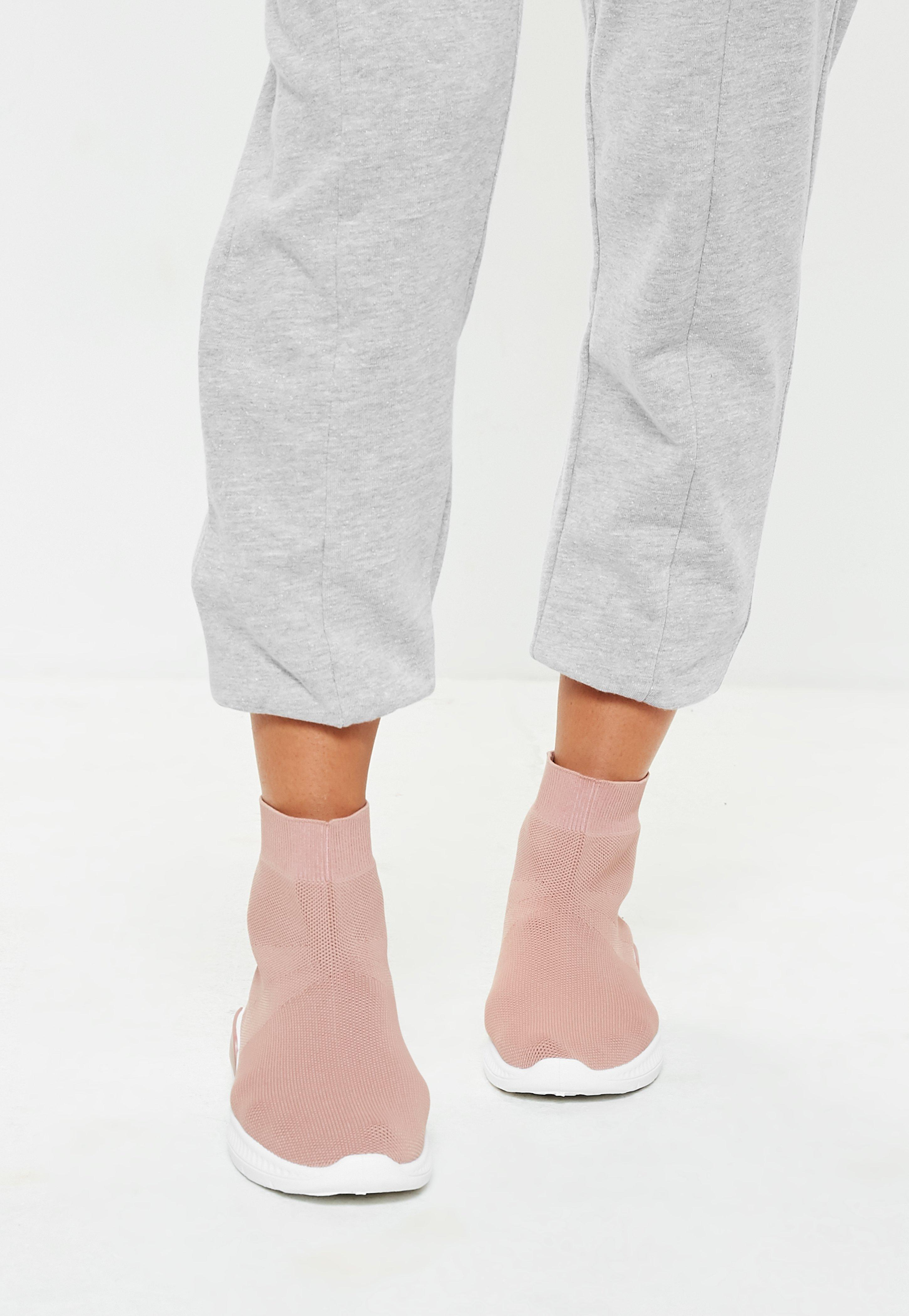 Missguided Pink Sock Sneakers - Lyst