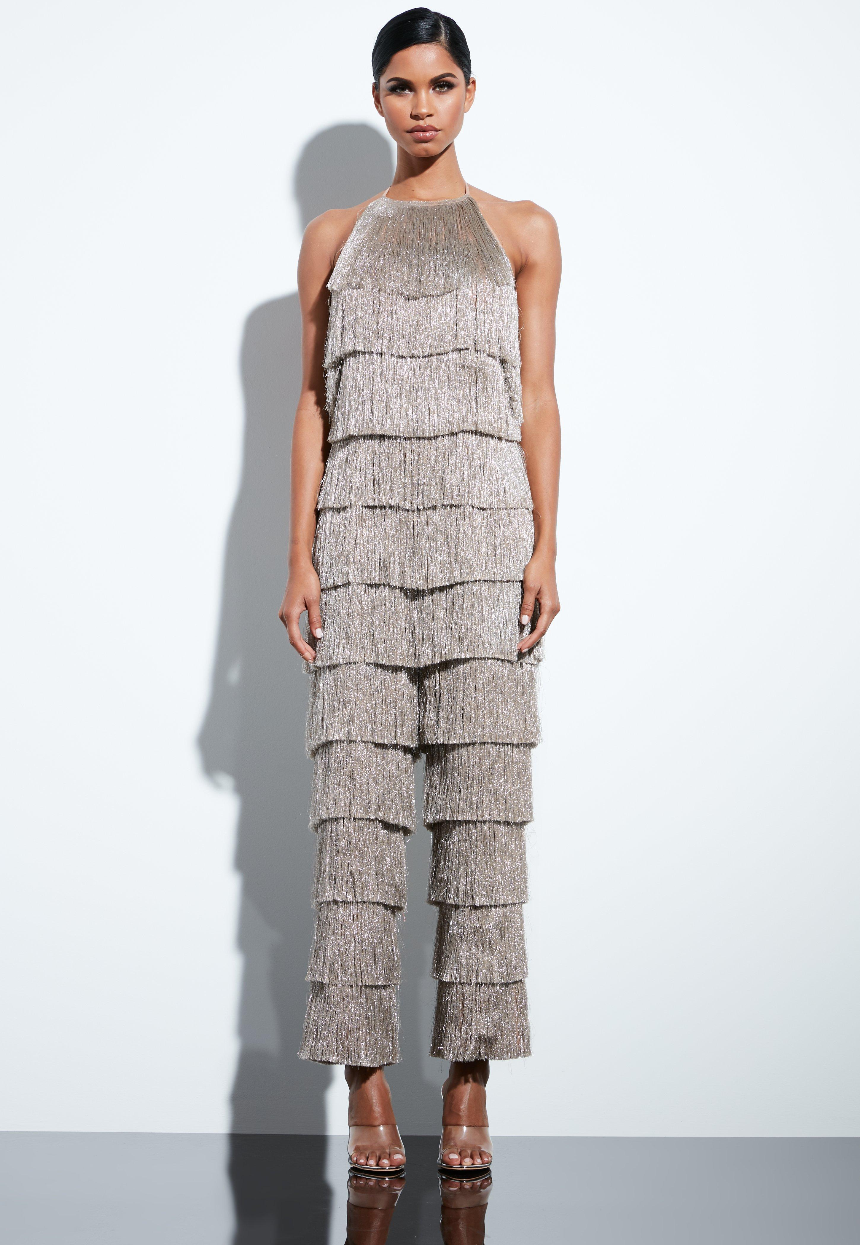 cd6a44234a5 Missguided - Peace + Love Gold Metallic Fringe Strappy High Neck Jumpsuit -  Lyst. View fullscreen