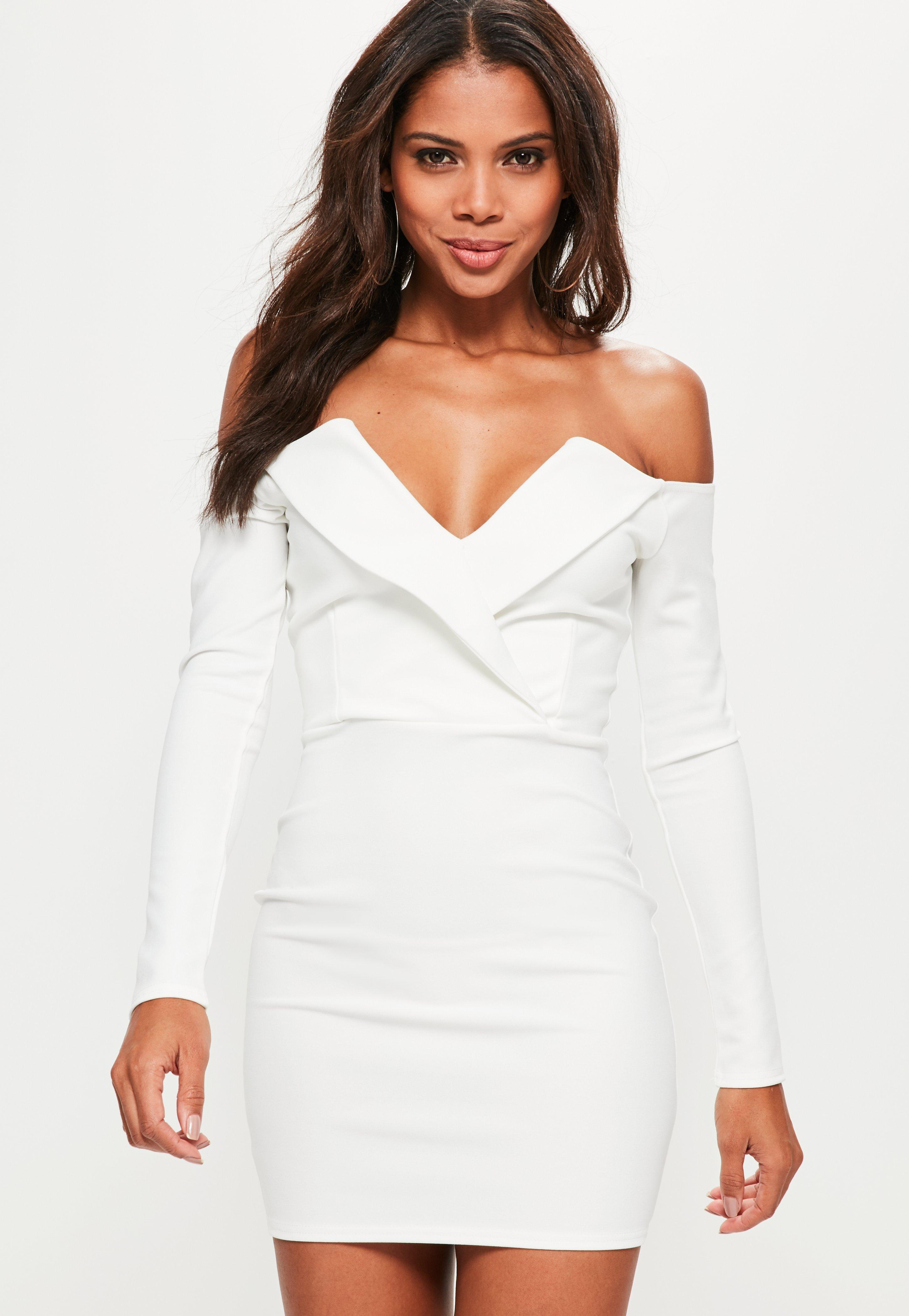 picked up exclusive range unique design Missguided White Bardot Foldover Wrap Dress - Lyst