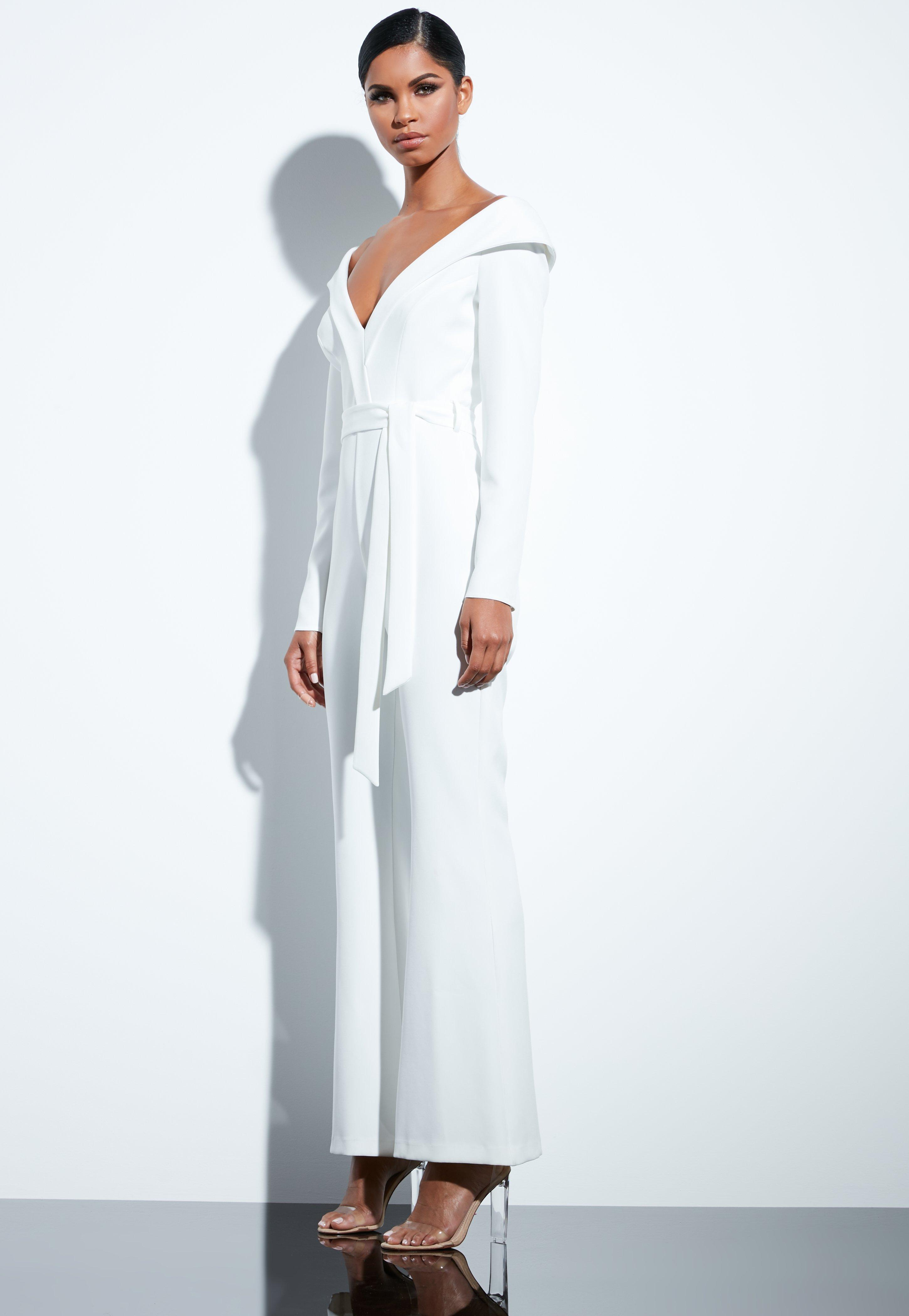c083a913bd38 Missguided - White Bardot Flared Jumpsuit - Lyst. View fullscreen