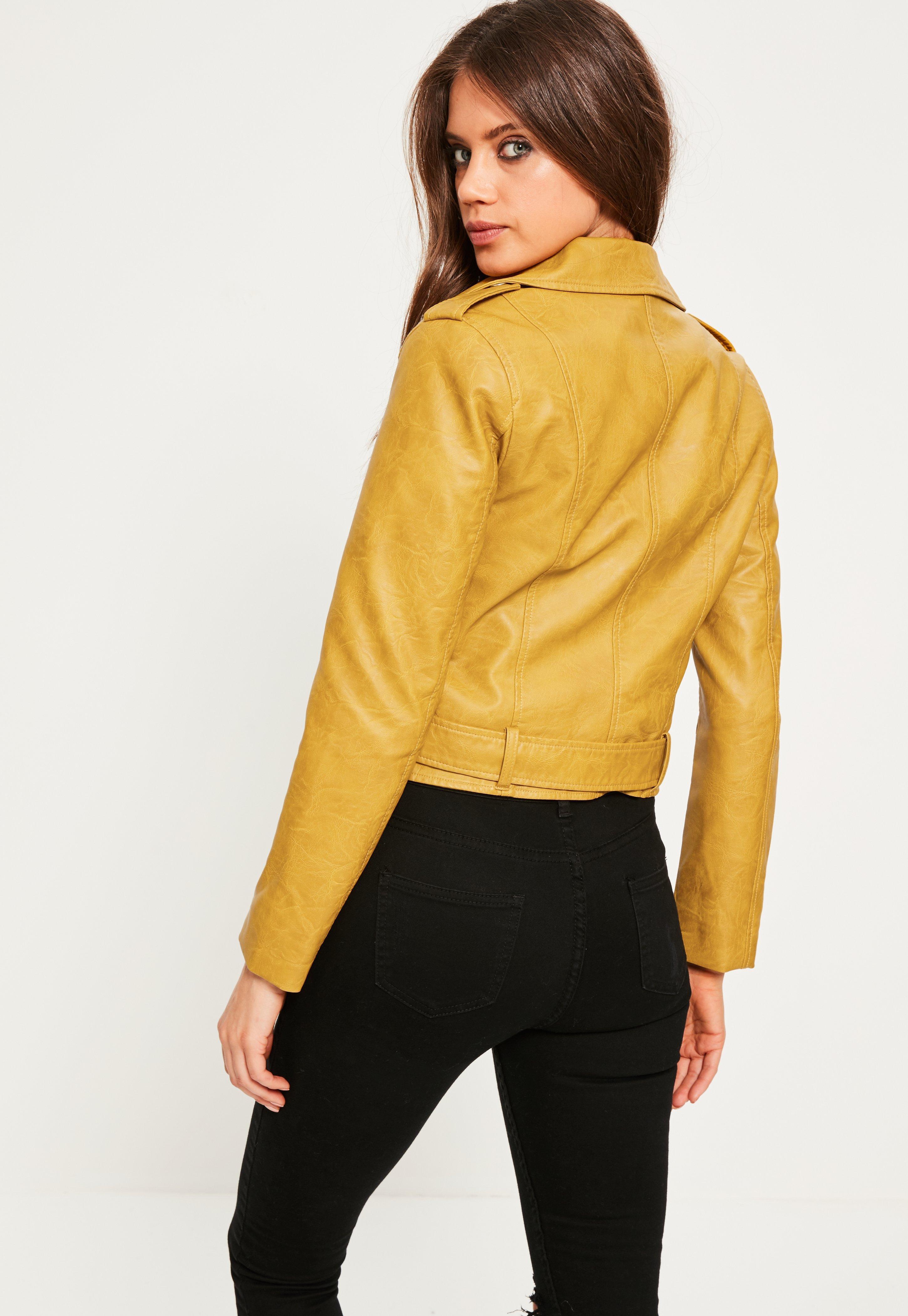23ec7dda9 Missguided Yellow Mustard Ultimate Faux Leather Biker Jacket