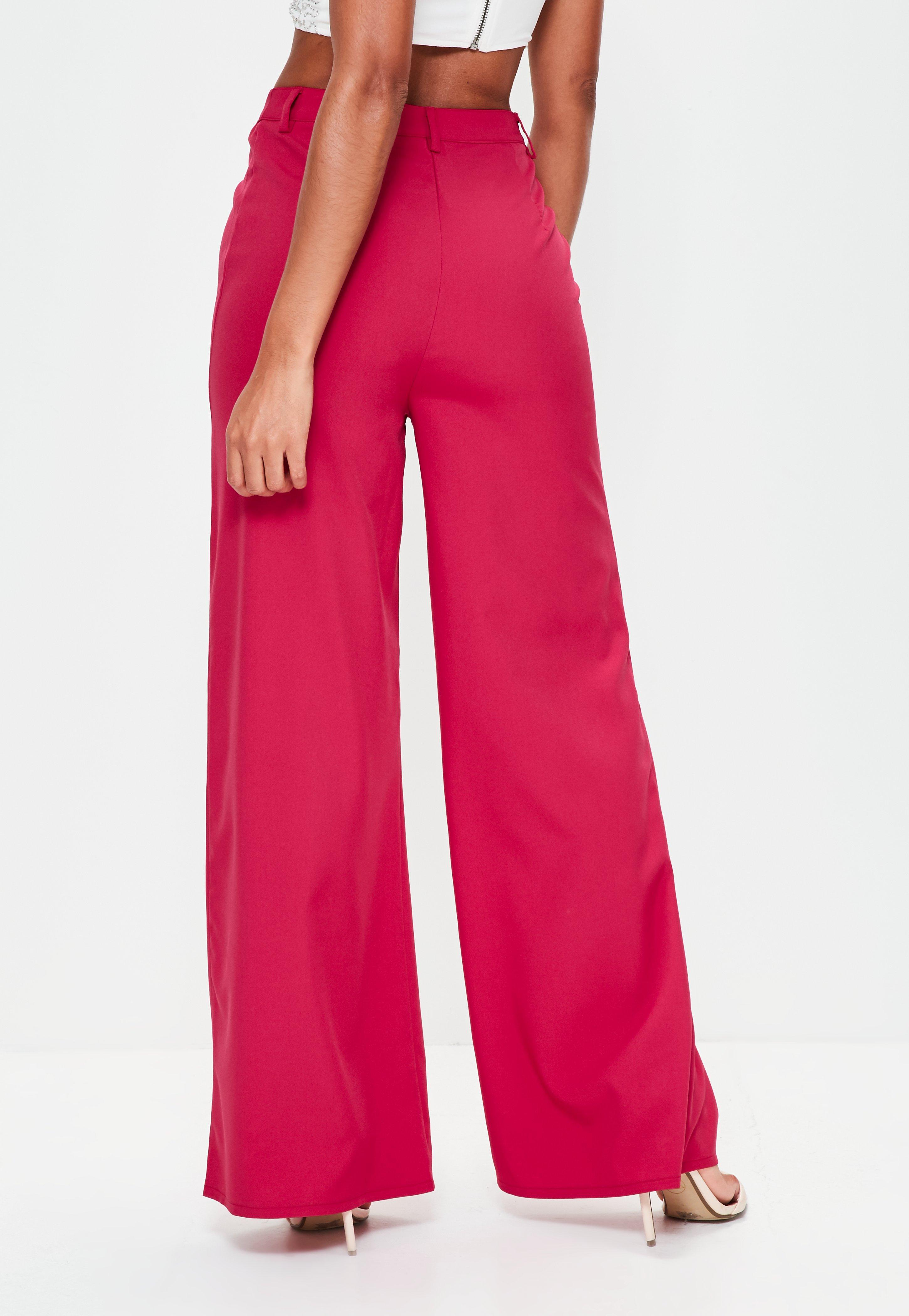 3bb2b026495 Lyst - Missguided Premium Pink Textured Crepe Wide Leg Pants in Pink