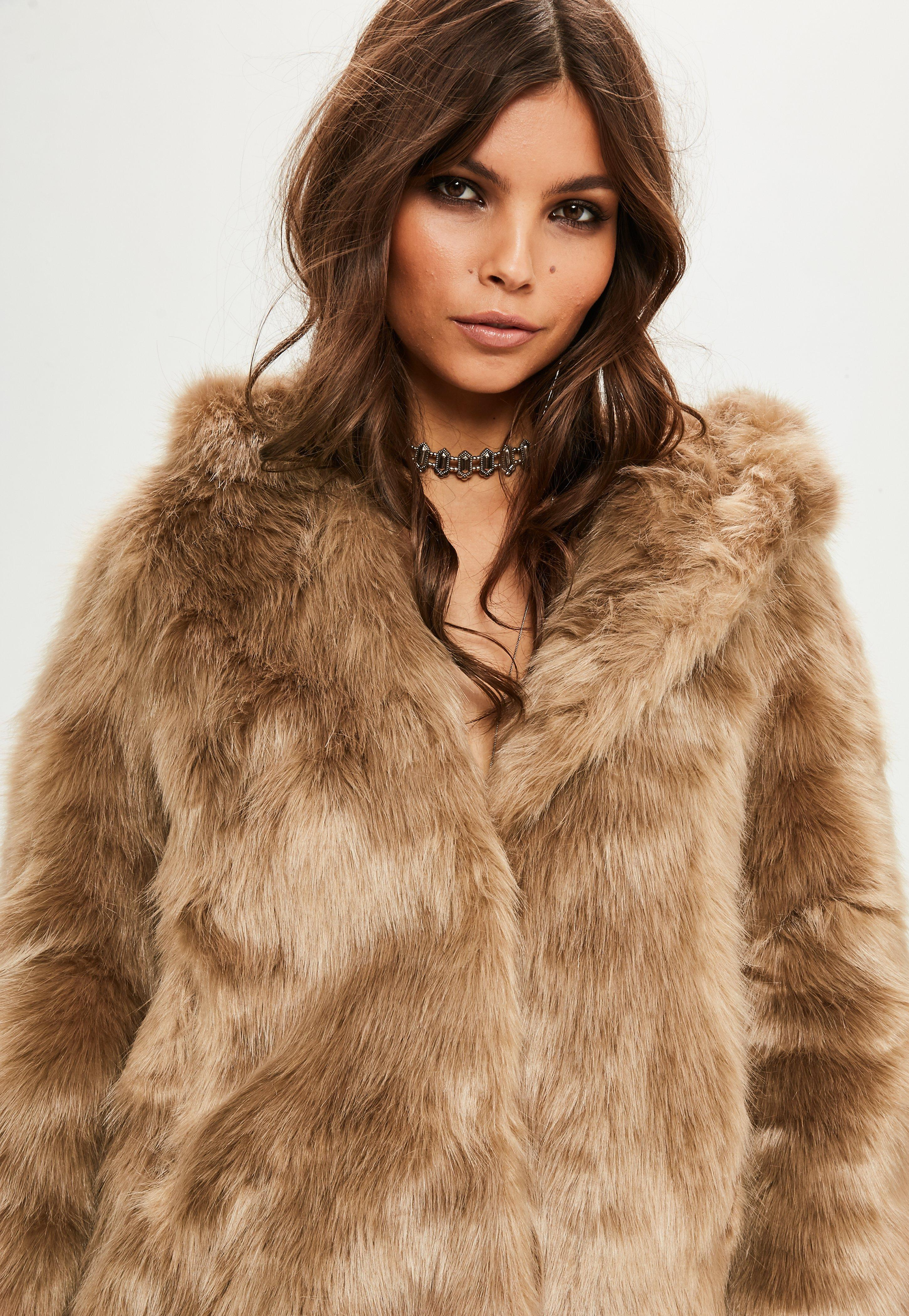 Lyst - Missguided Cassie Shaggy Faux Fur Coat Nude in Natural
